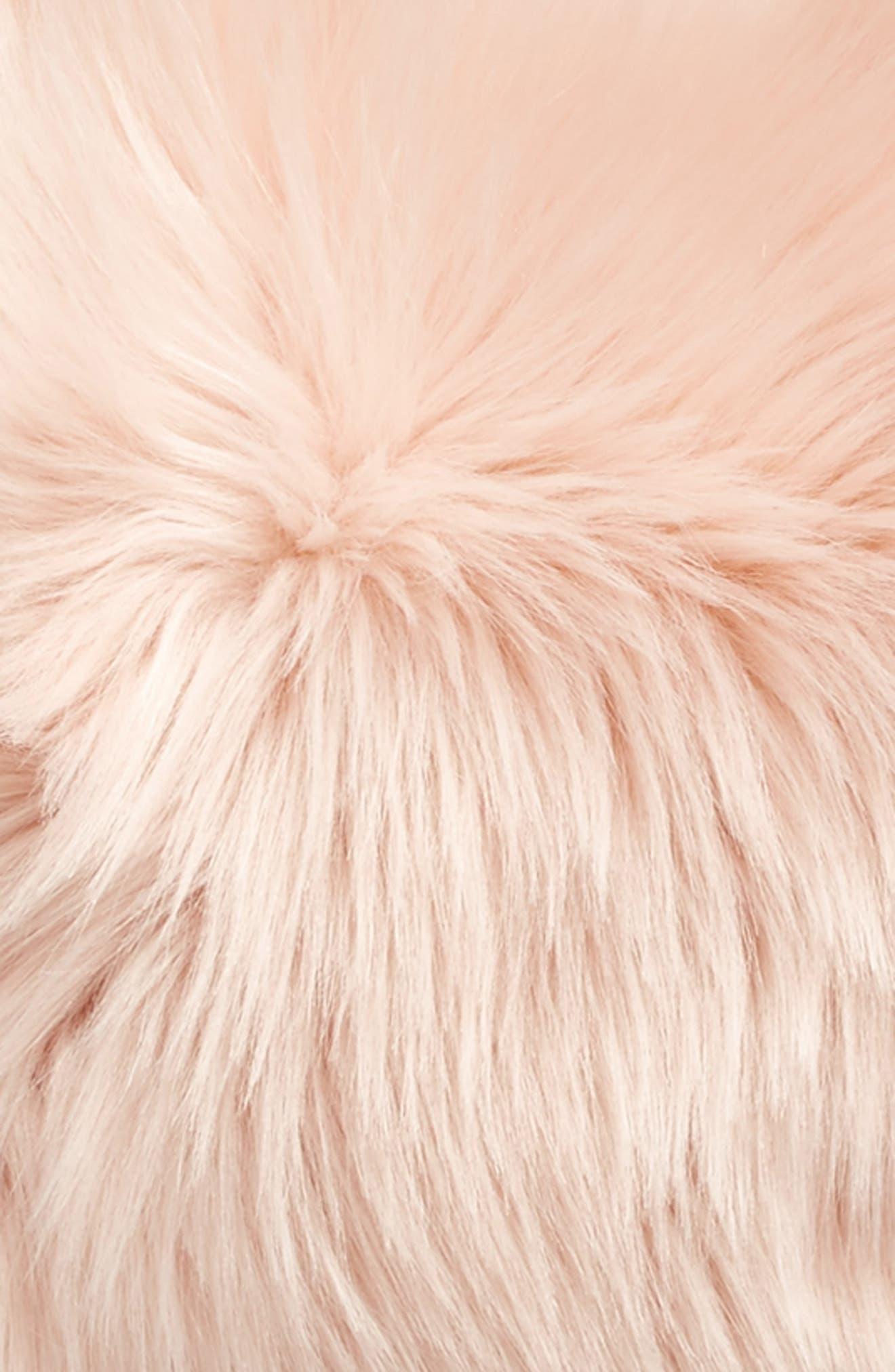 'Sumptuous' Faux Fur Accent Pillow,                             Alternate thumbnail 4, color,                             ROSE