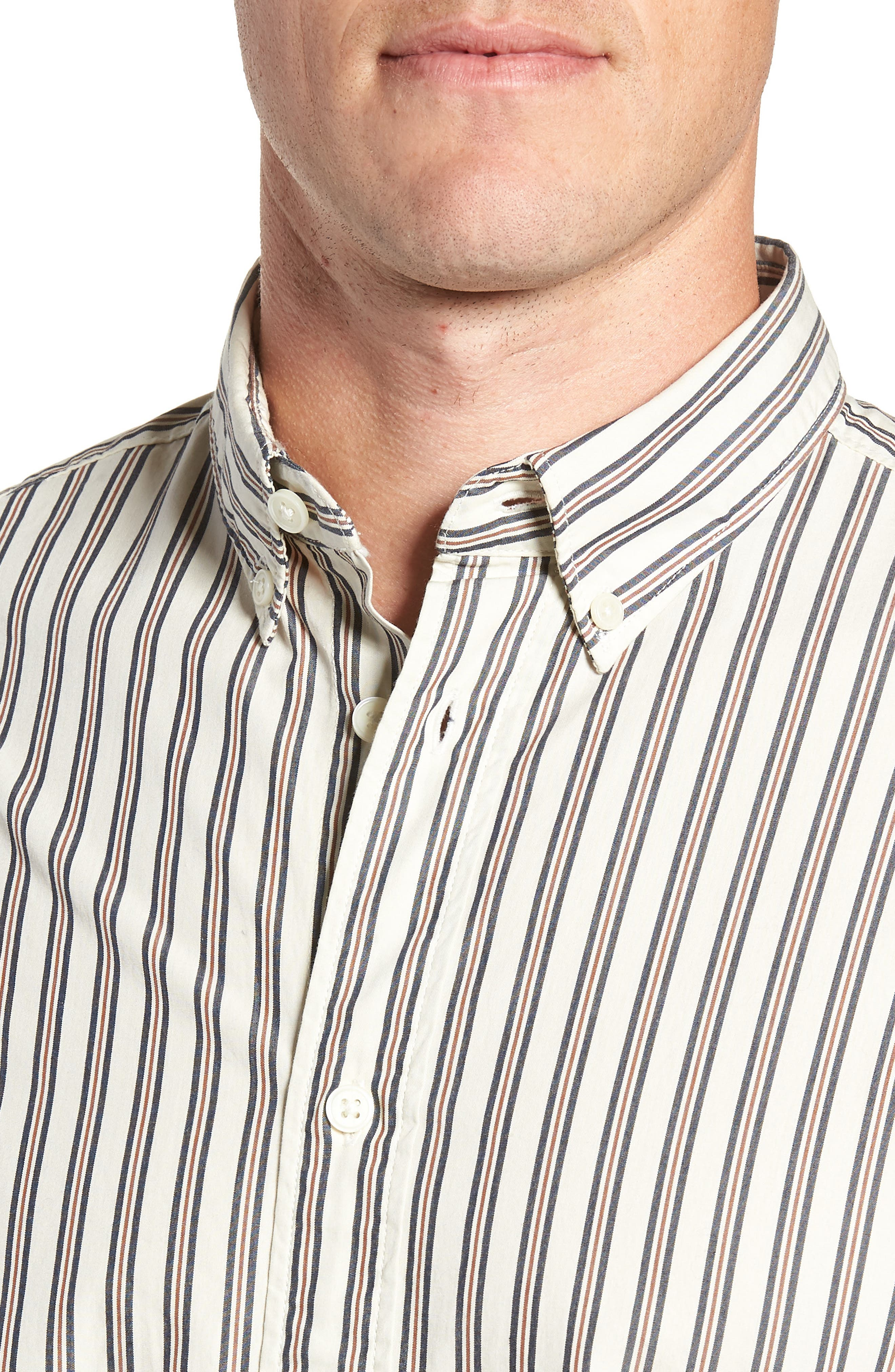 Carl Regular Fit Stripe Sport Shirt,                             Alternate thumbnail 2, color,                             OYSTER GREY STRIPES