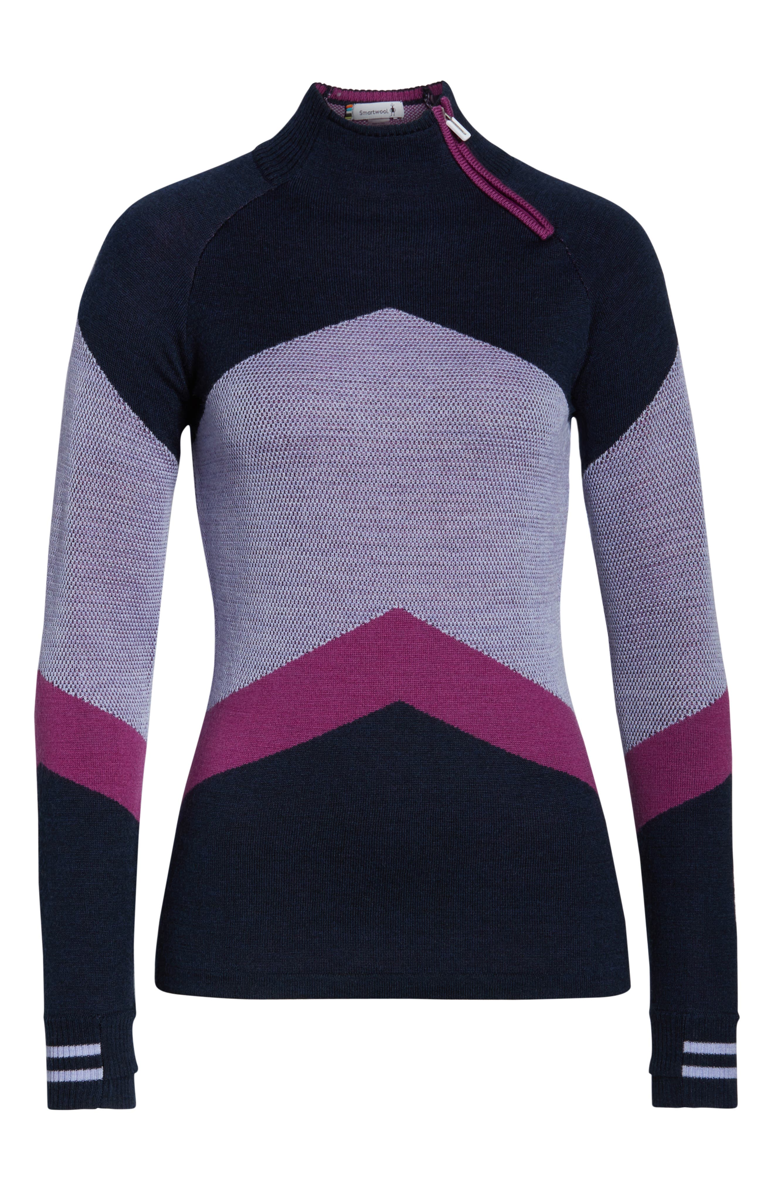 Ski Funnel Neck Sweater,                             Alternate thumbnail 7, color,                             DEEP NAVY HEATHER