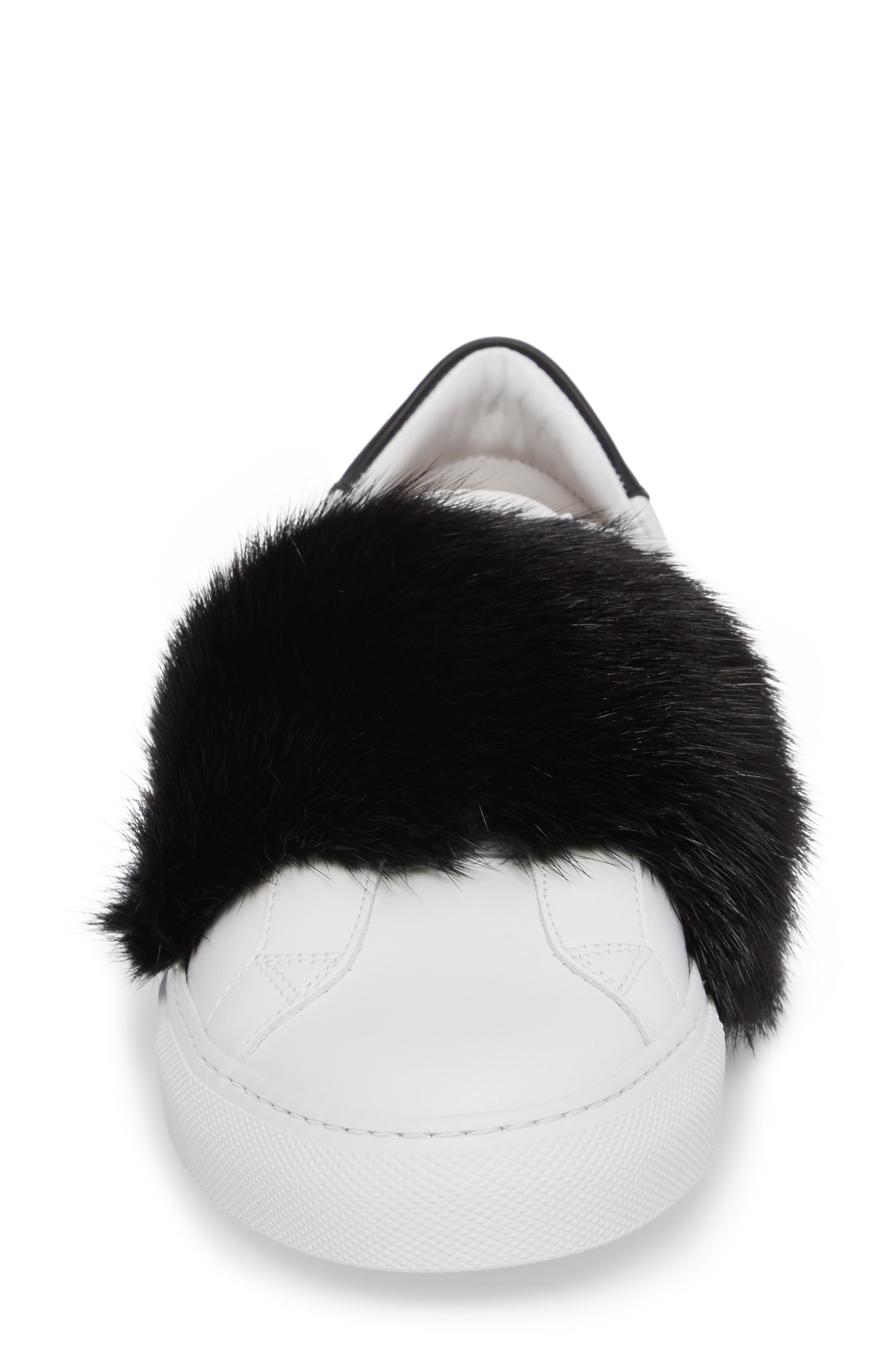 Urban Street Slip-On Sneaker with Genuine Mink Fur Trim,                             Alternate thumbnail 4, color,                             115