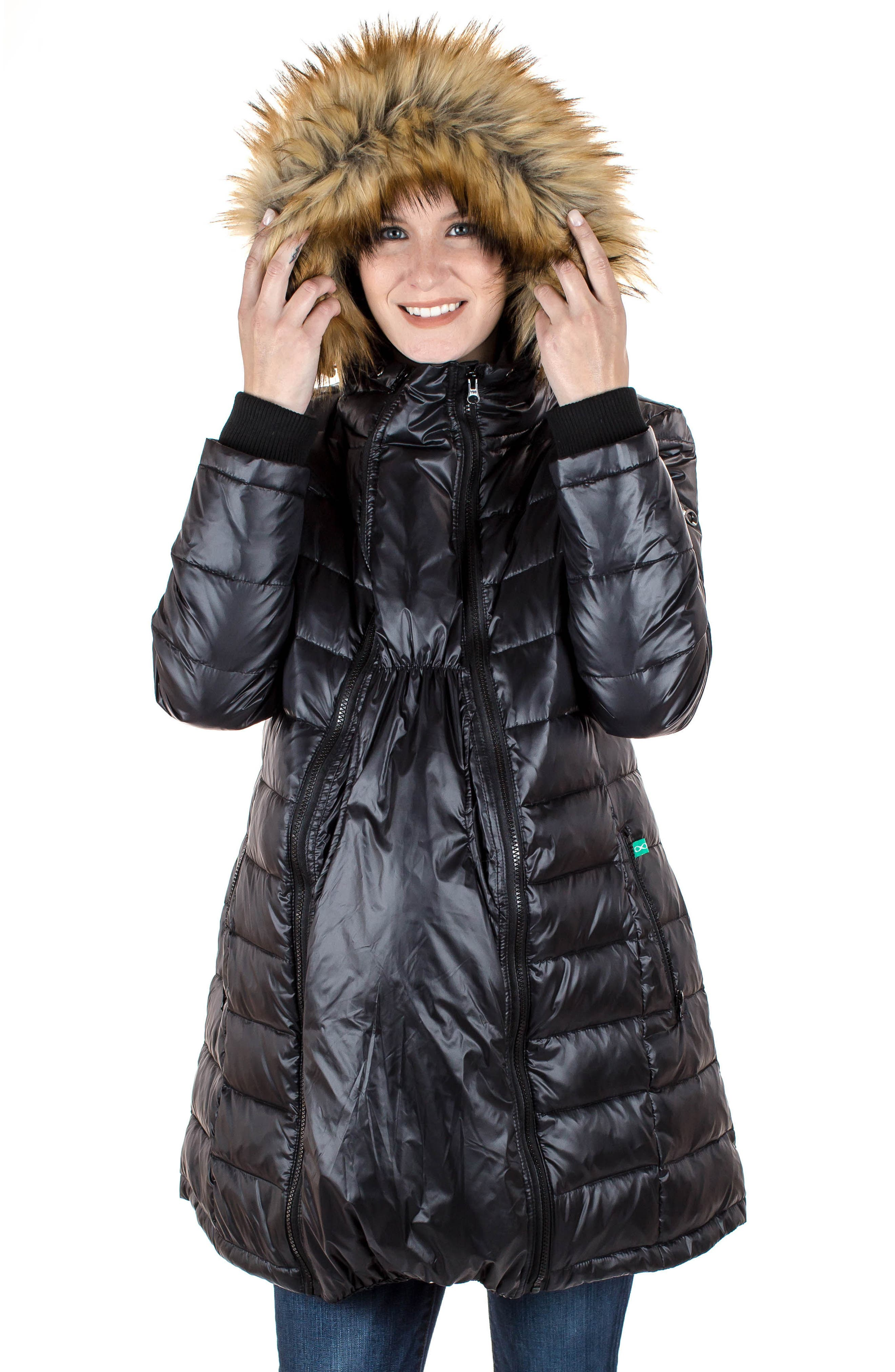 Quilted 3-in-1 Maternity/Nursing Parka,                             Alternate thumbnail 9, color,                             BLACK