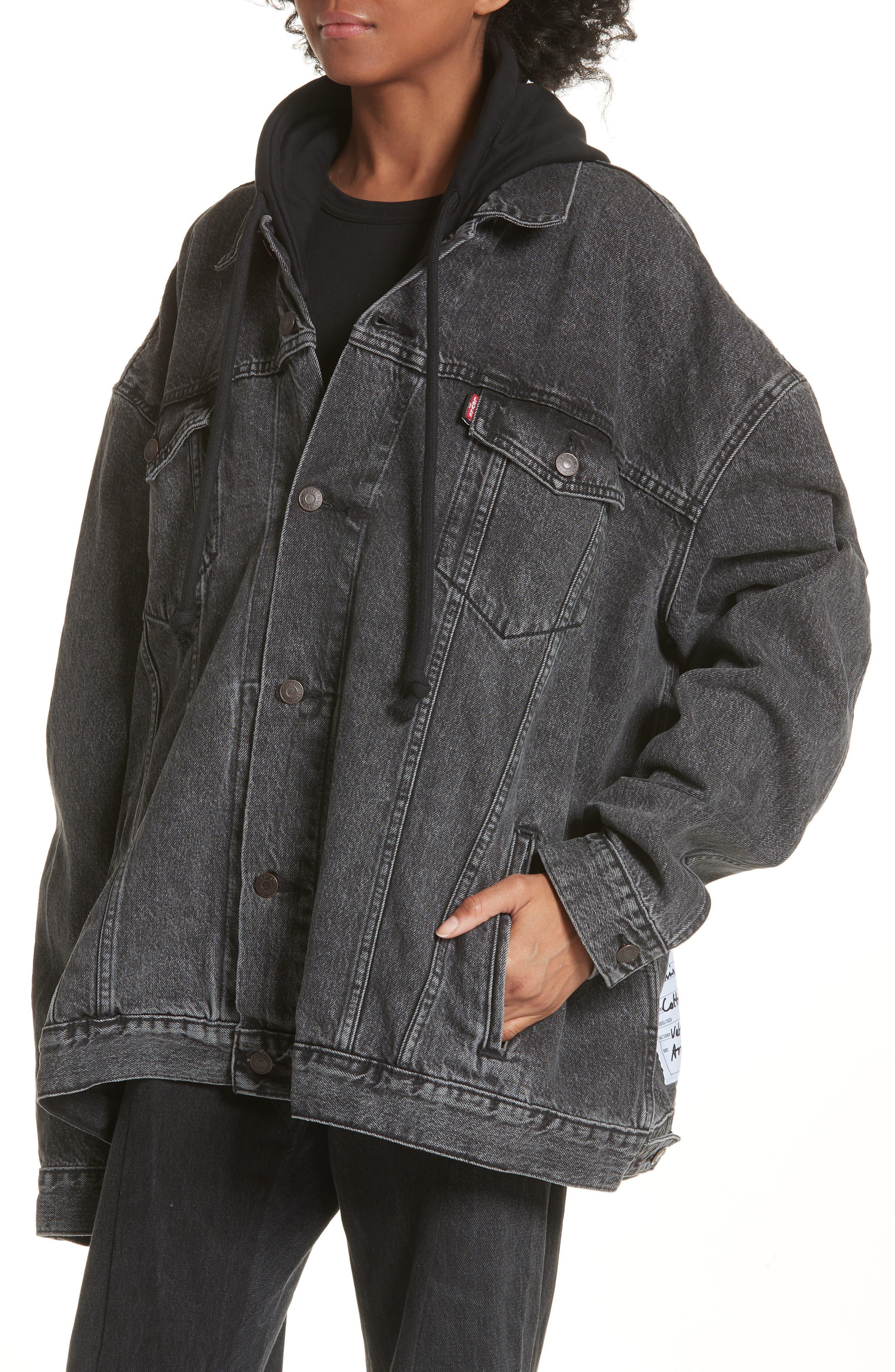 Oversized Removable Hood Denim Jacket,                             Alternate thumbnail 5, color,                             001