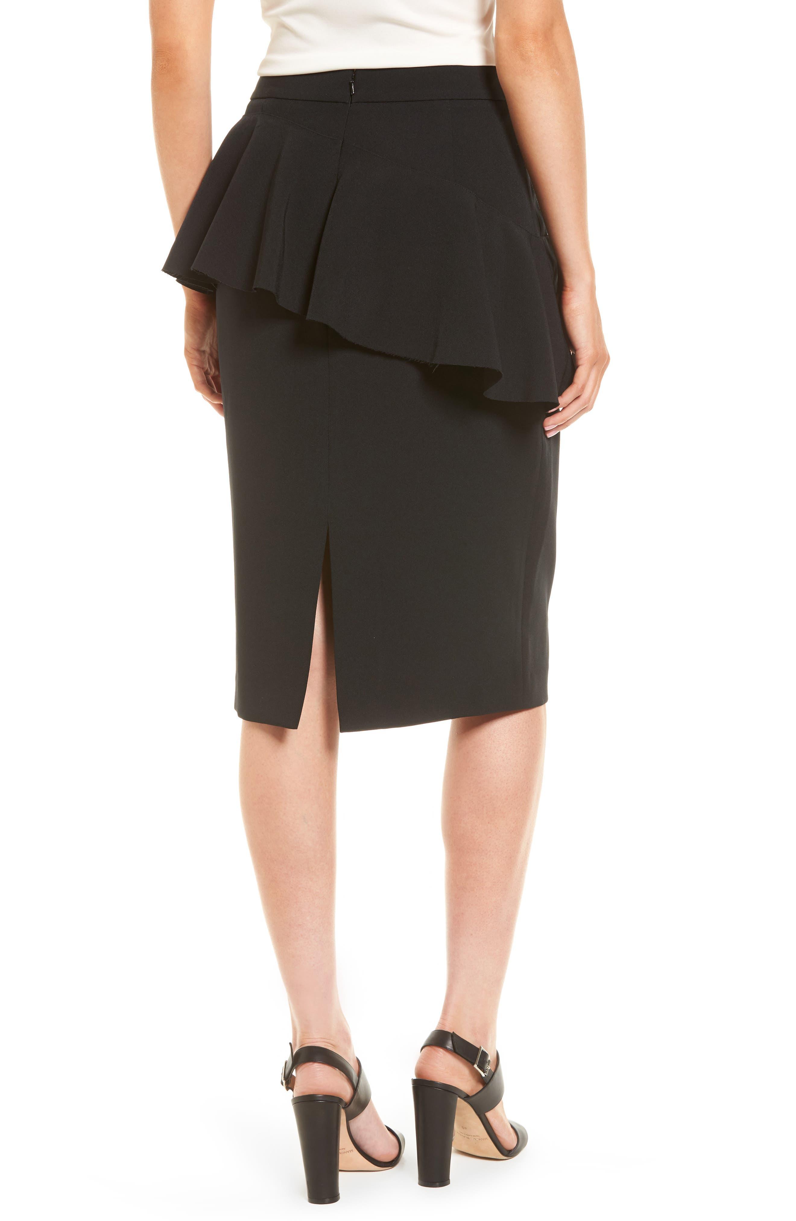 Ruffle Detail Pencil Skirt,                             Alternate thumbnail 2, color,                             001