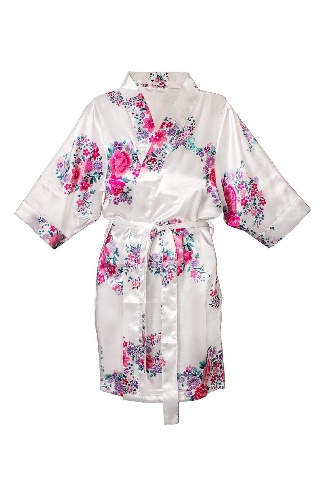 Monogram Floral Satin Robe,                             Main thumbnail 47, color,