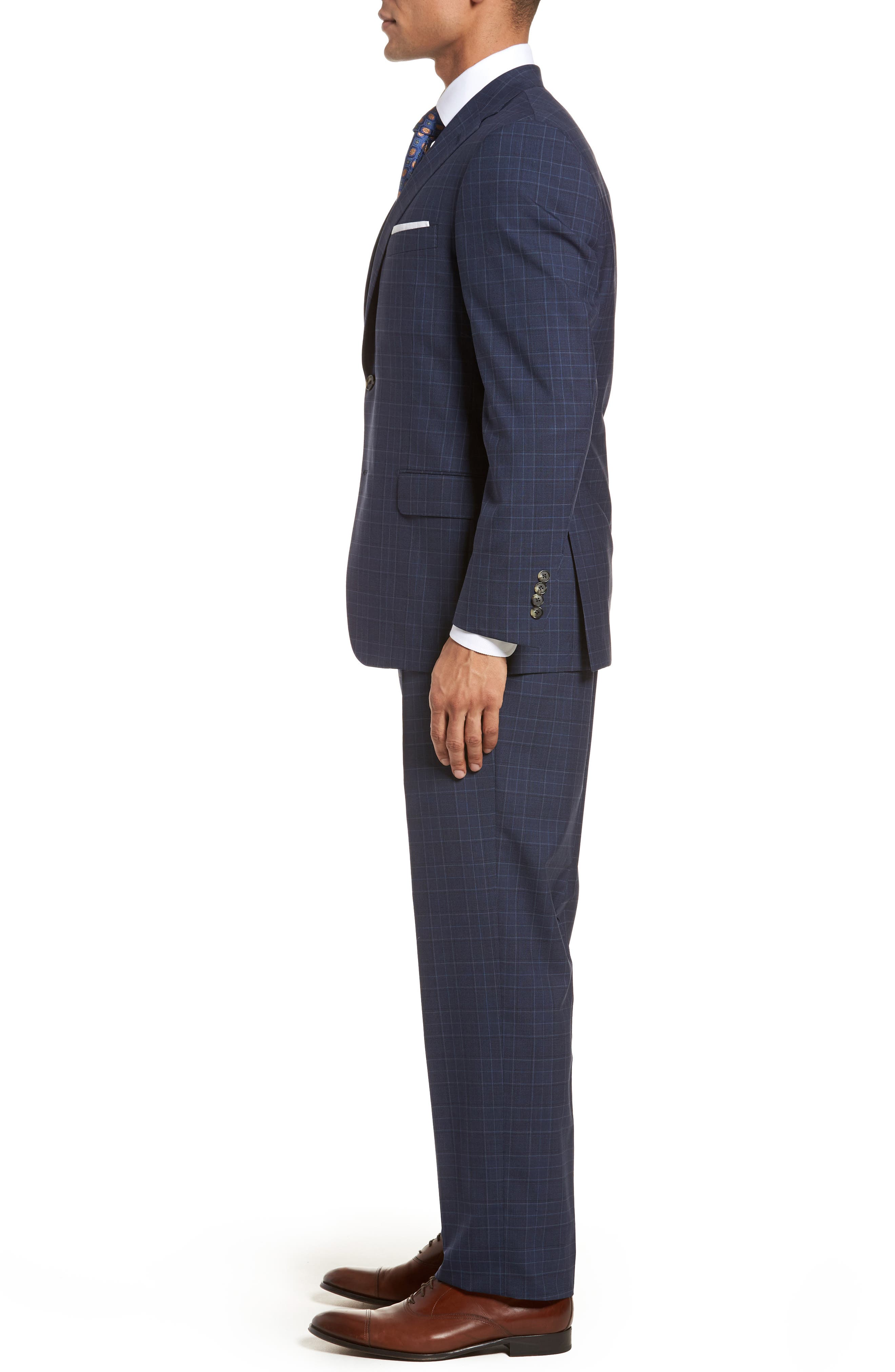 HICKEY FREEMAN,                             Classic B Fit Plaid Wool Suit,                             Alternate thumbnail 3, color,                             400