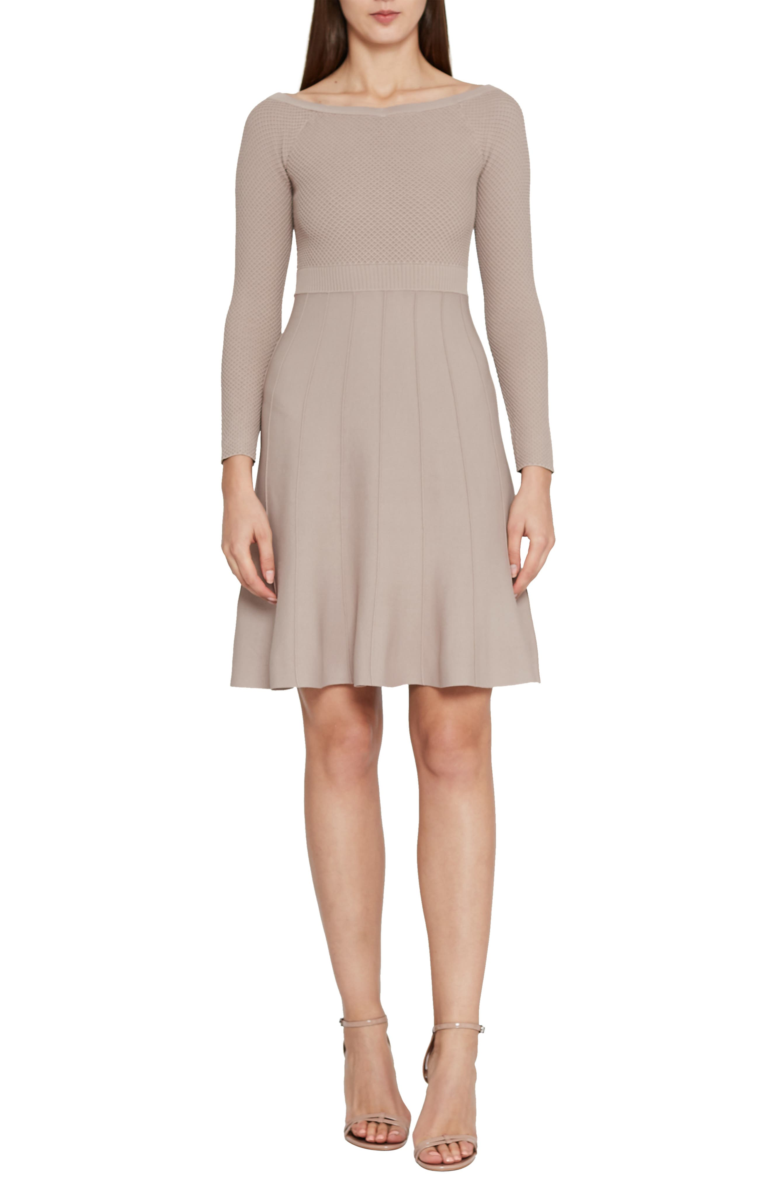 Astra Textured Skater Dress,                         Main,                         color, NEUTRAL