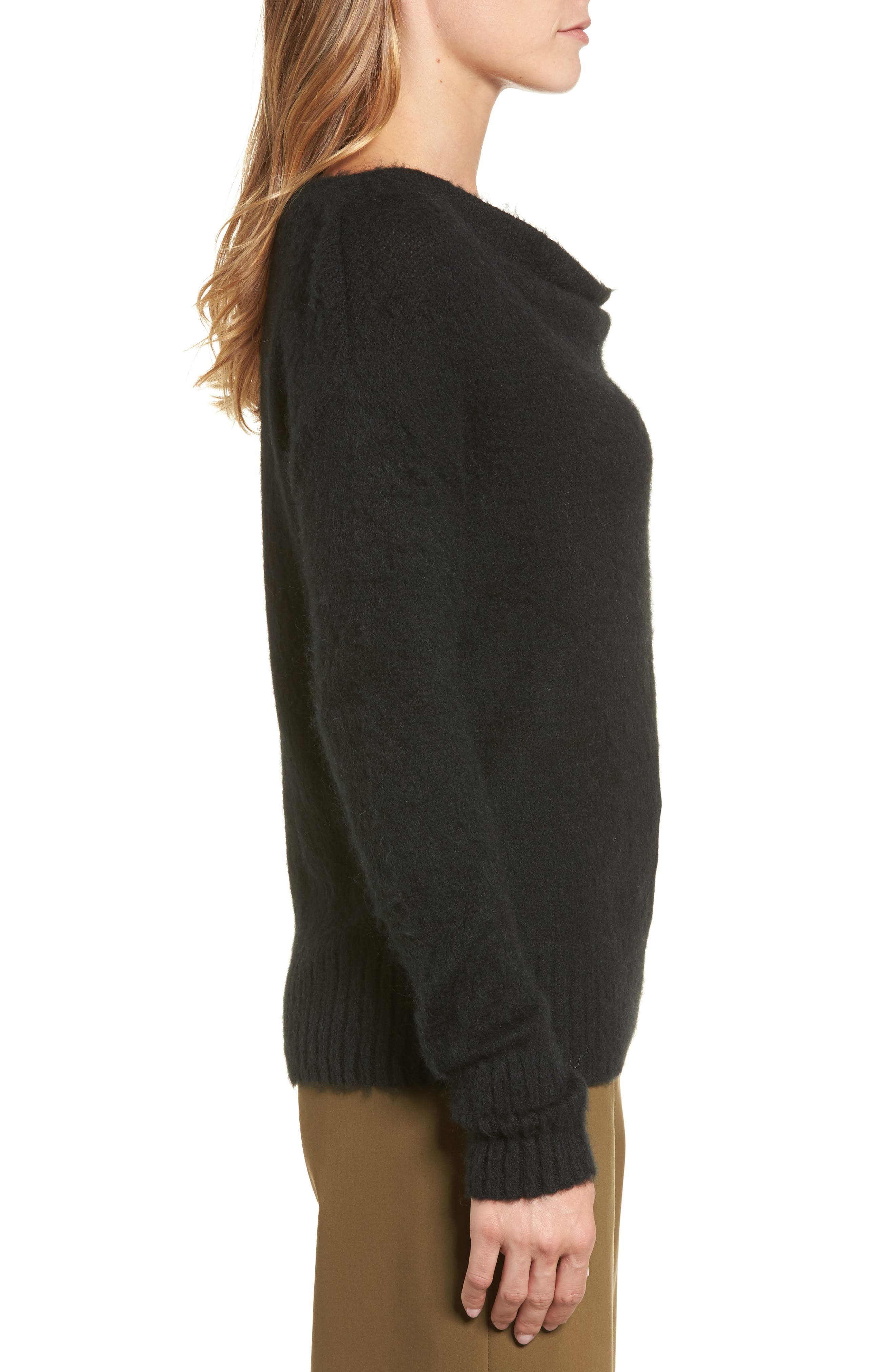 Long Sleeve Brushed Sweater,                             Alternate thumbnail 3, color,                             001