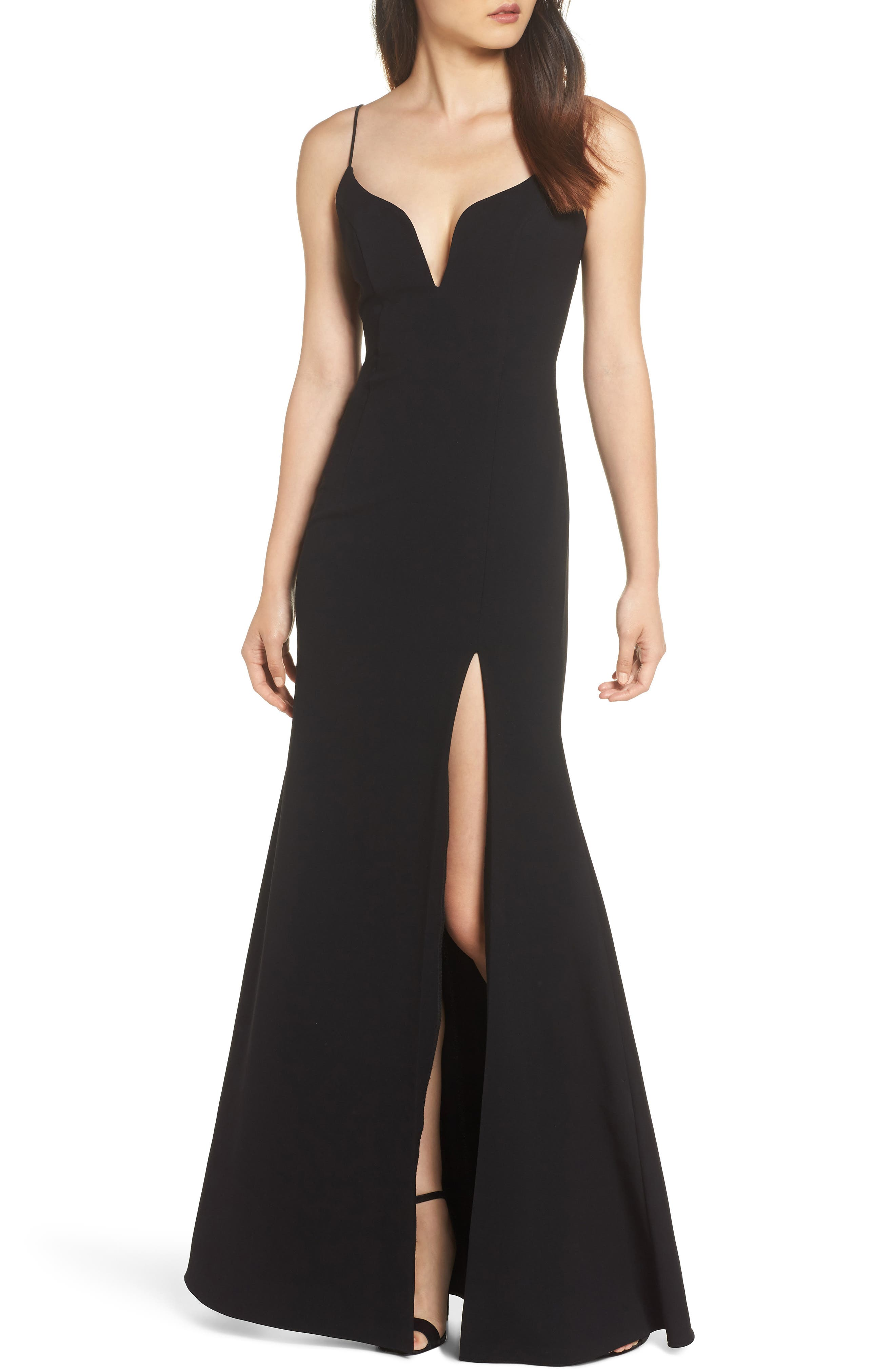 Plunge Sweetheart Gown, Main, color, BLACK