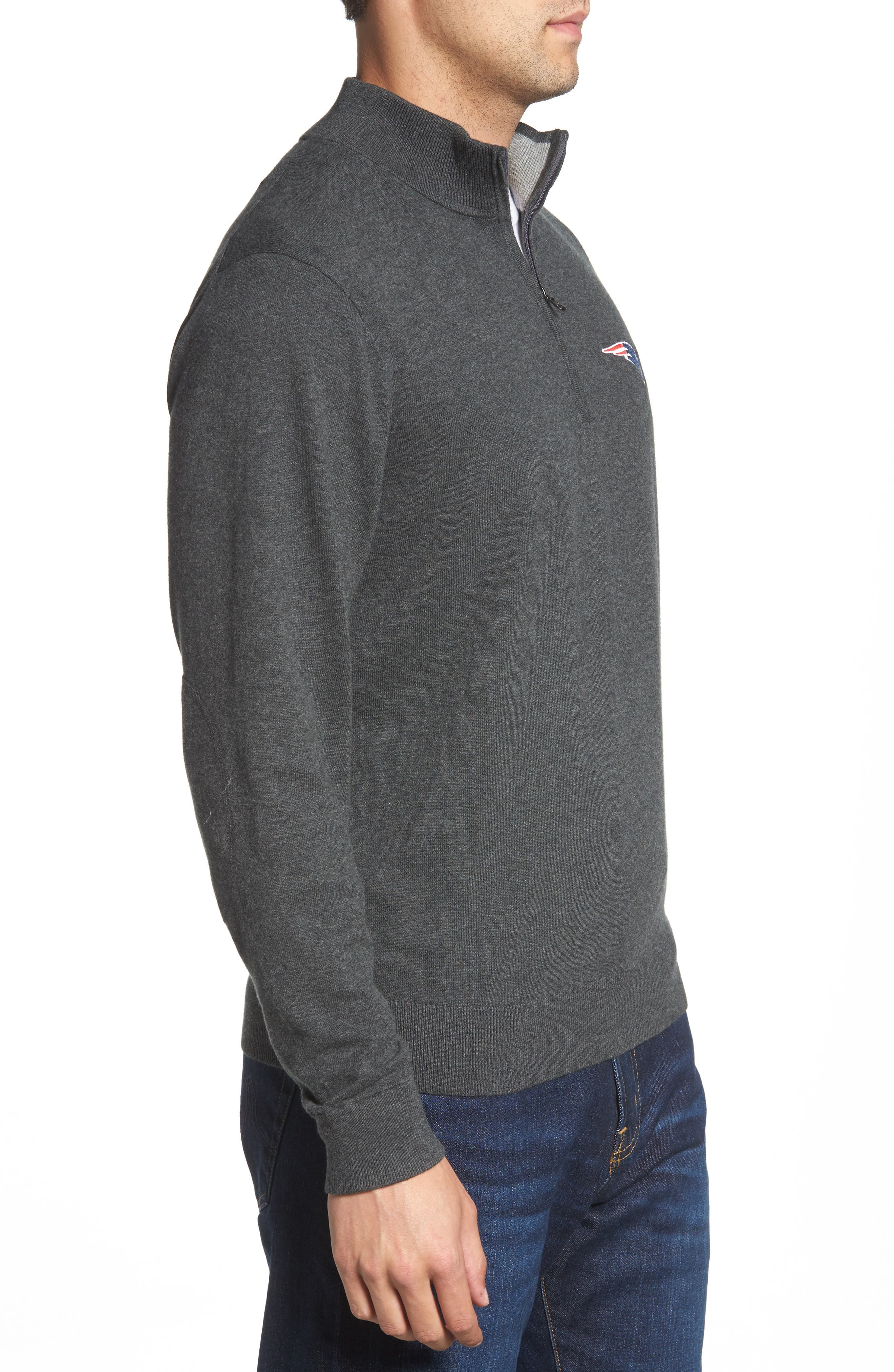 New England Patriots - Lakemont Regular Fit Quarter Zip Sweater,                             Alternate thumbnail 3, color,                             CHARCOAL HEATHER
