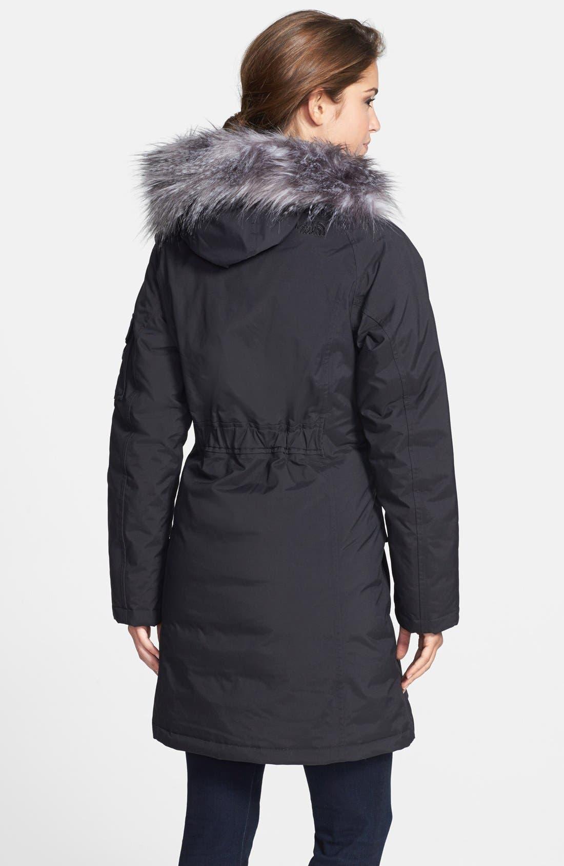 'Juneau' Faux Fur Trim Hooded Down Jacket,                             Alternate thumbnail 2, color,                             001