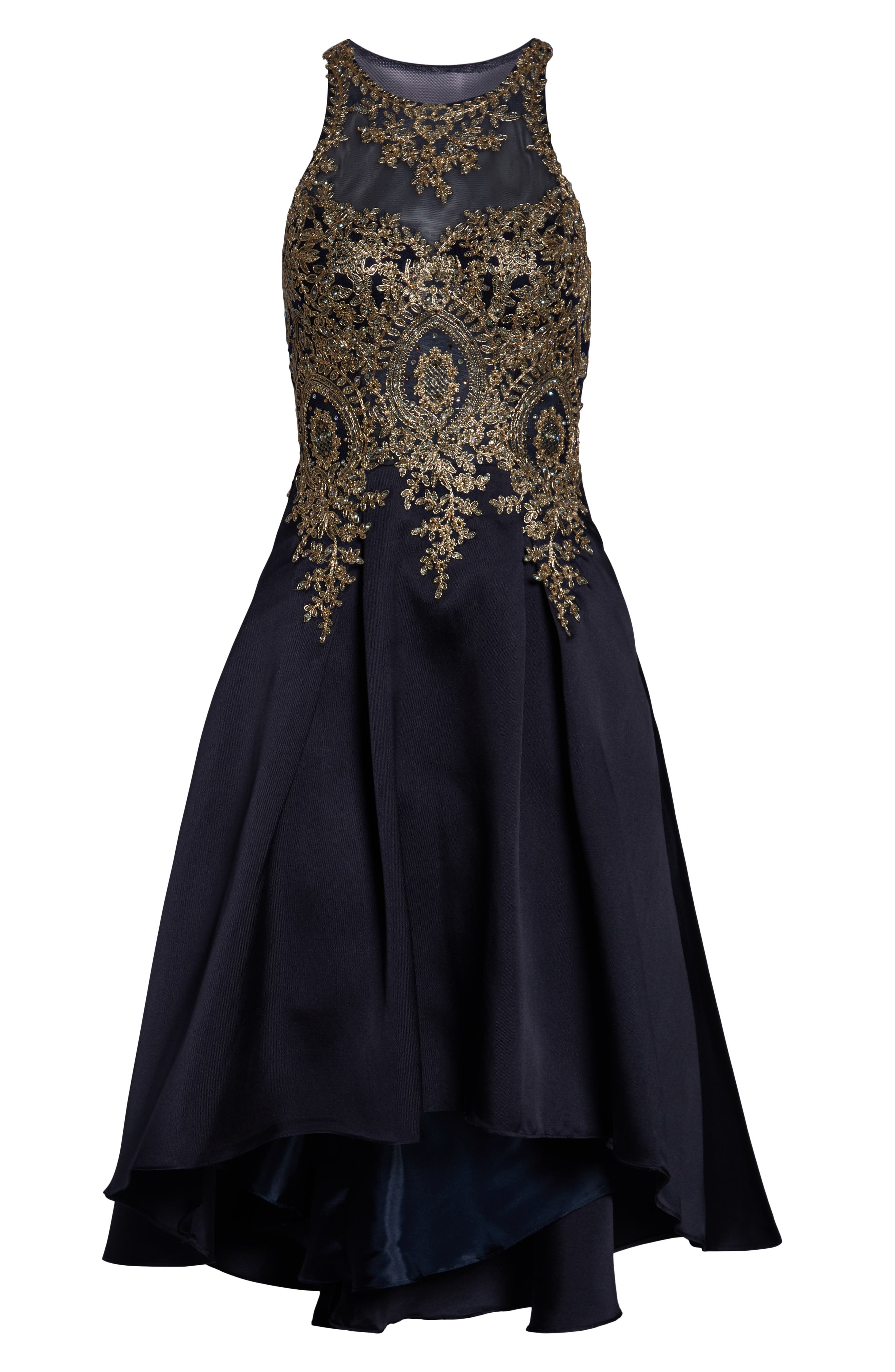 Embroidered High/Low Mikado Cocktail Dress,                             Alternate thumbnail 3, color,                             NAVY/ GOLD