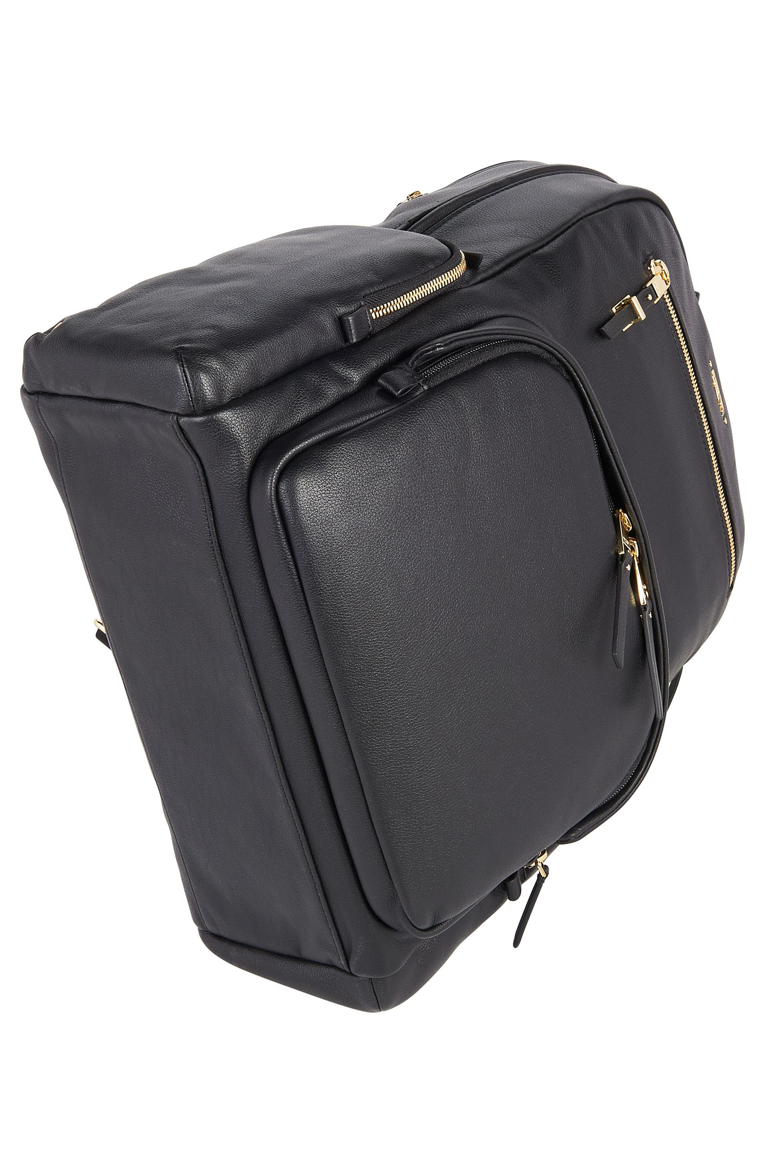 Voyageur Carson Leather Backpack,                             Alternate thumbnail 5, color,                             BLACK
