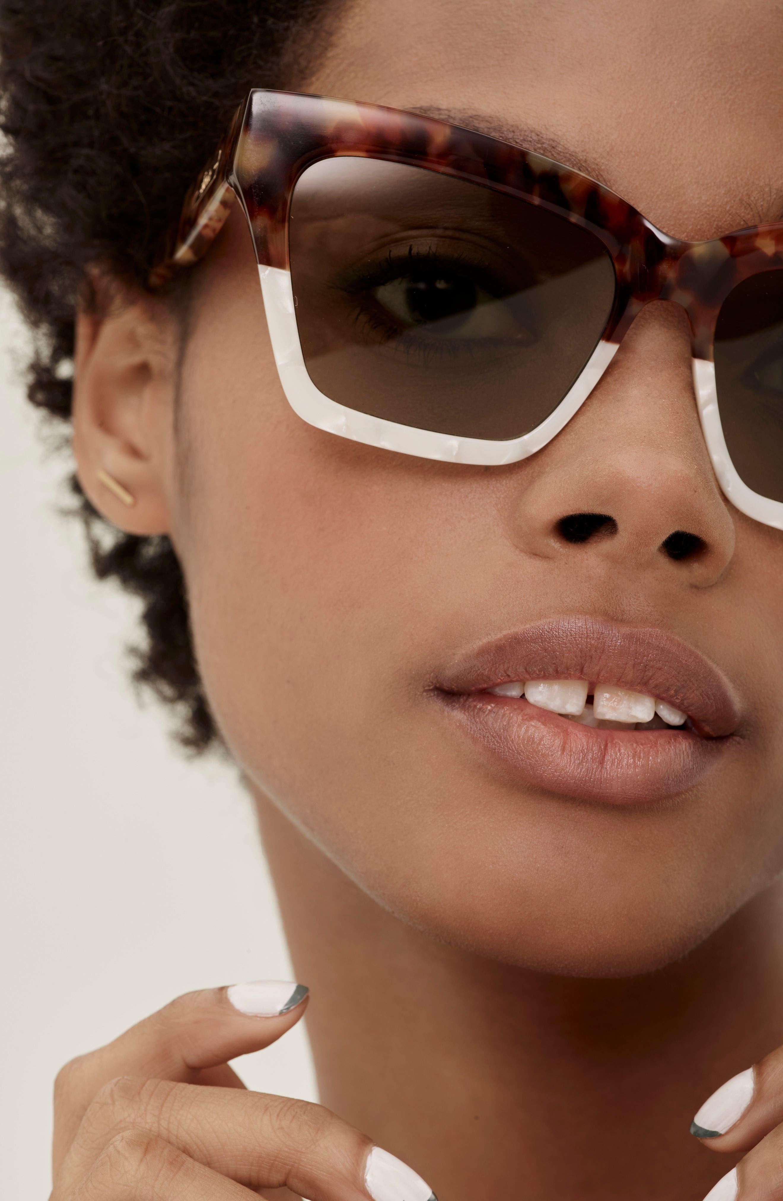 Half Half 54mm Cat Eye Sunglasses,                             Alternate thumbnail 4, color,                             001