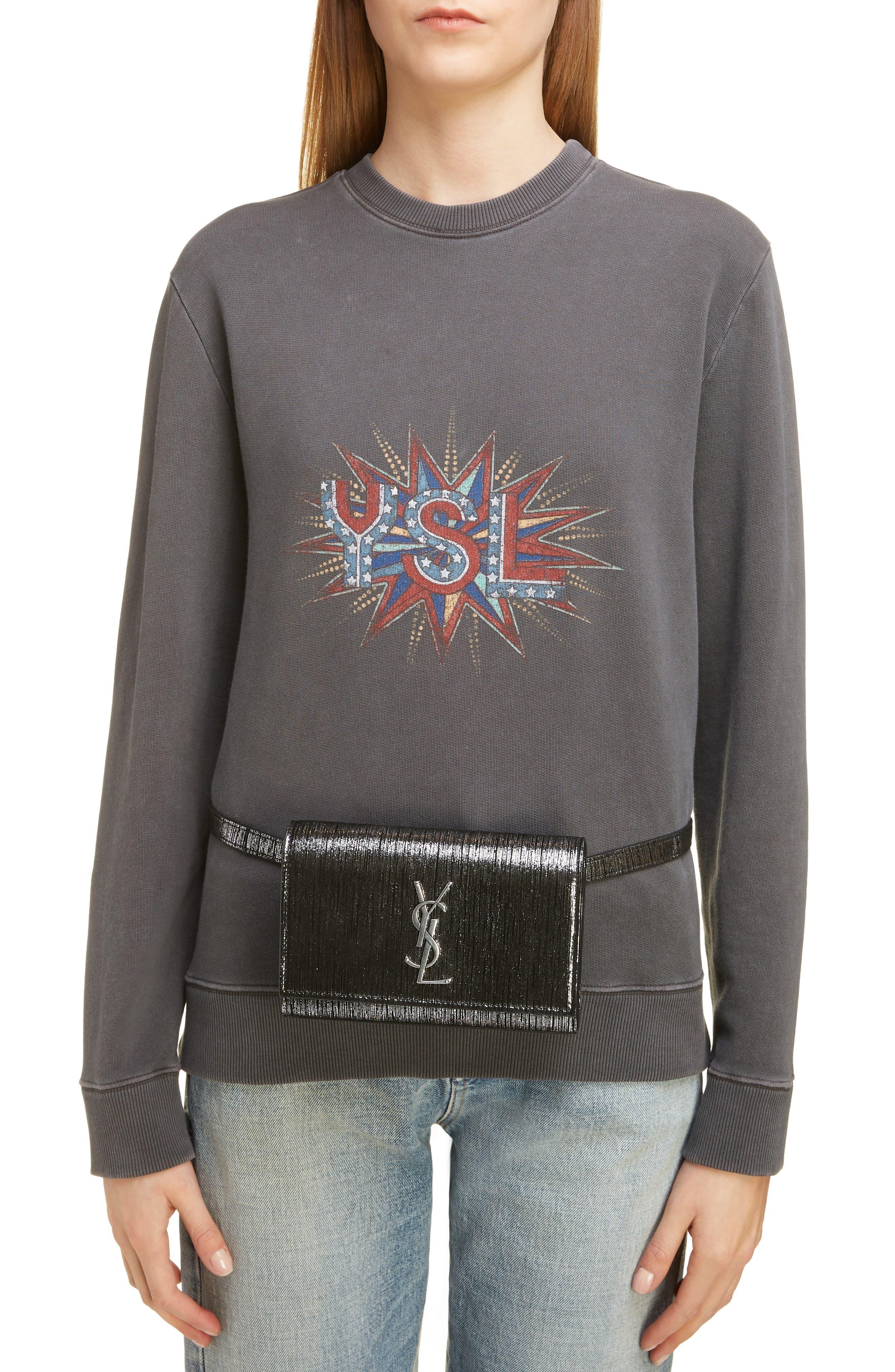 Kate Lamé Lambskin Leather Belt Bag,                             Alternate thumbnail 2, color,                             NOIR/ PLATINE