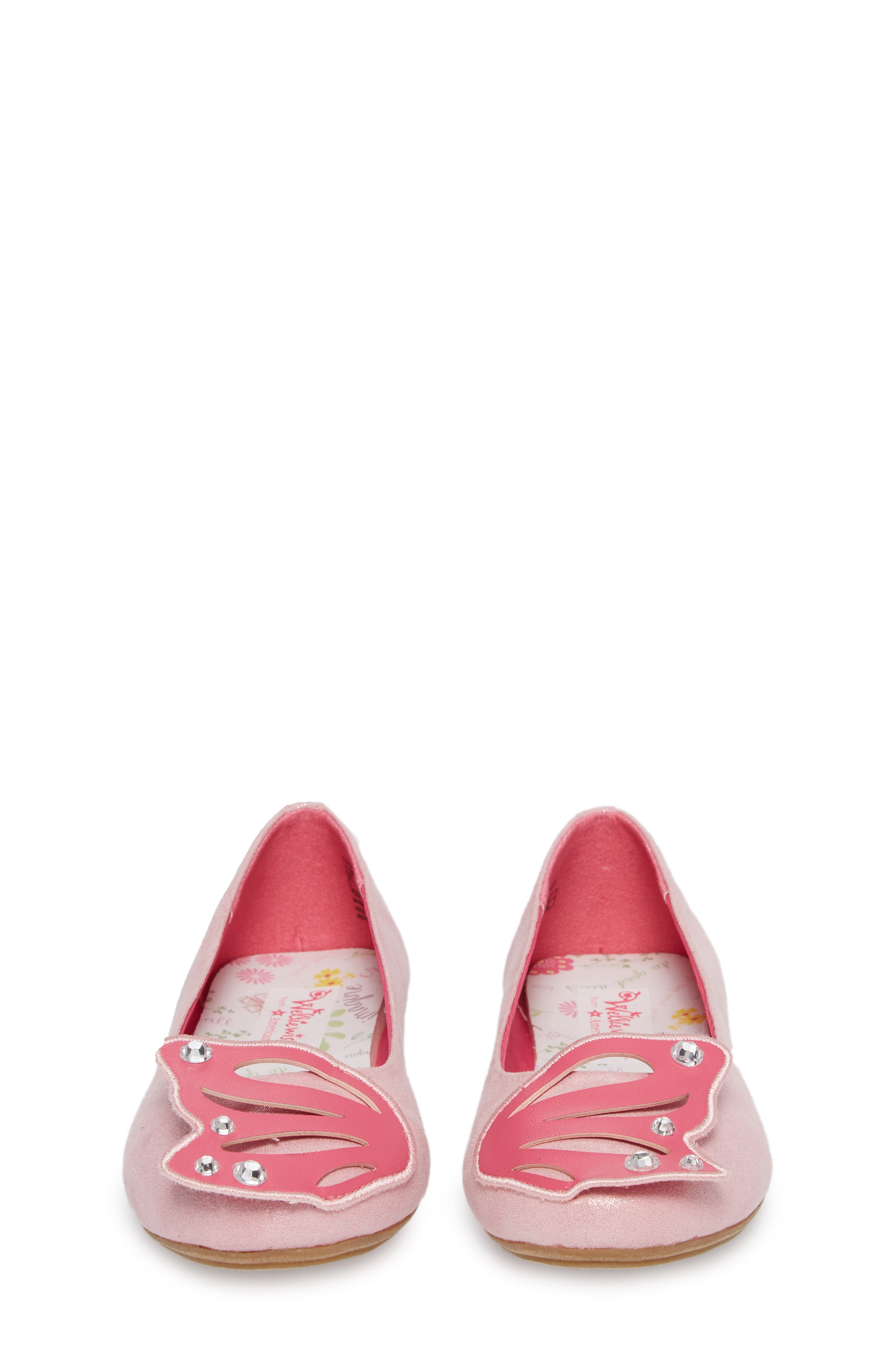 WellieWishers by American Girl Flutter Wings Embellished Ballet Flat,                             Alternate thumbnail 4, color,