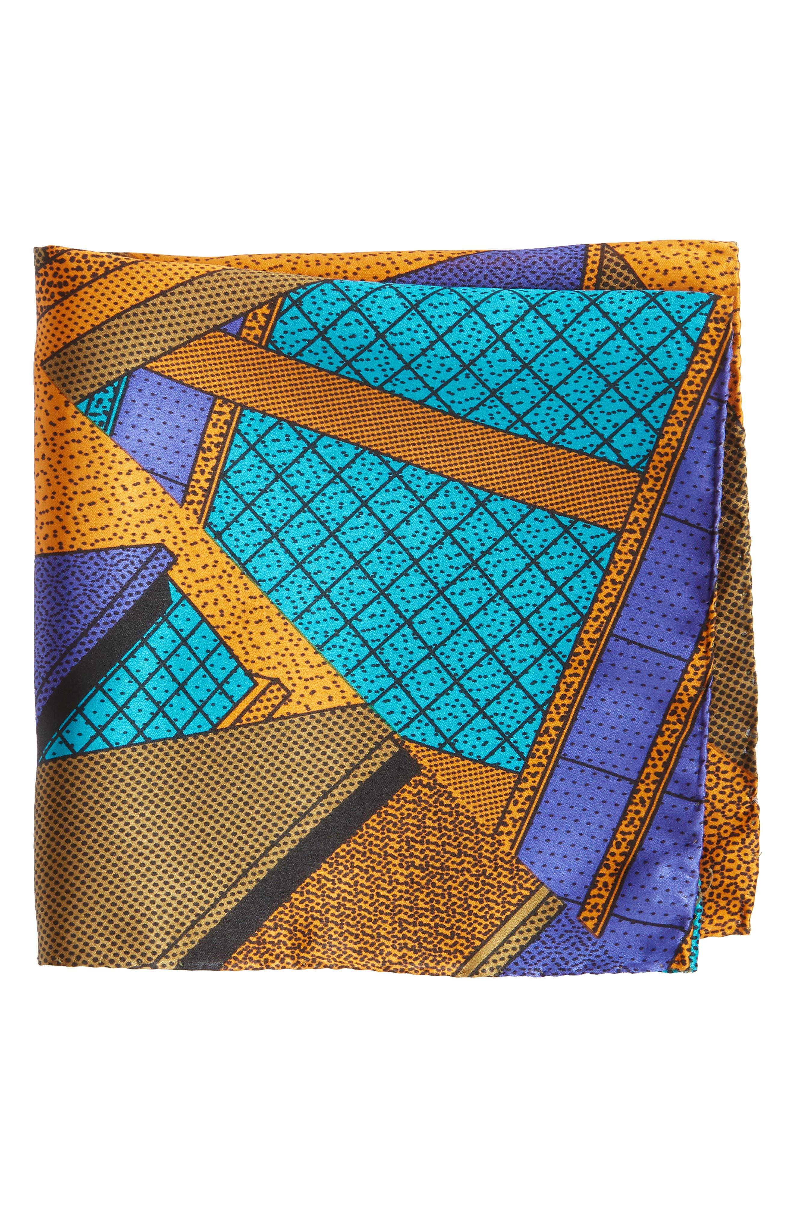 MEMPHIS Milano Pochette Silk Pocket Square,                             Main thumbnail 1, color,                             TEAL/ ORANGE
