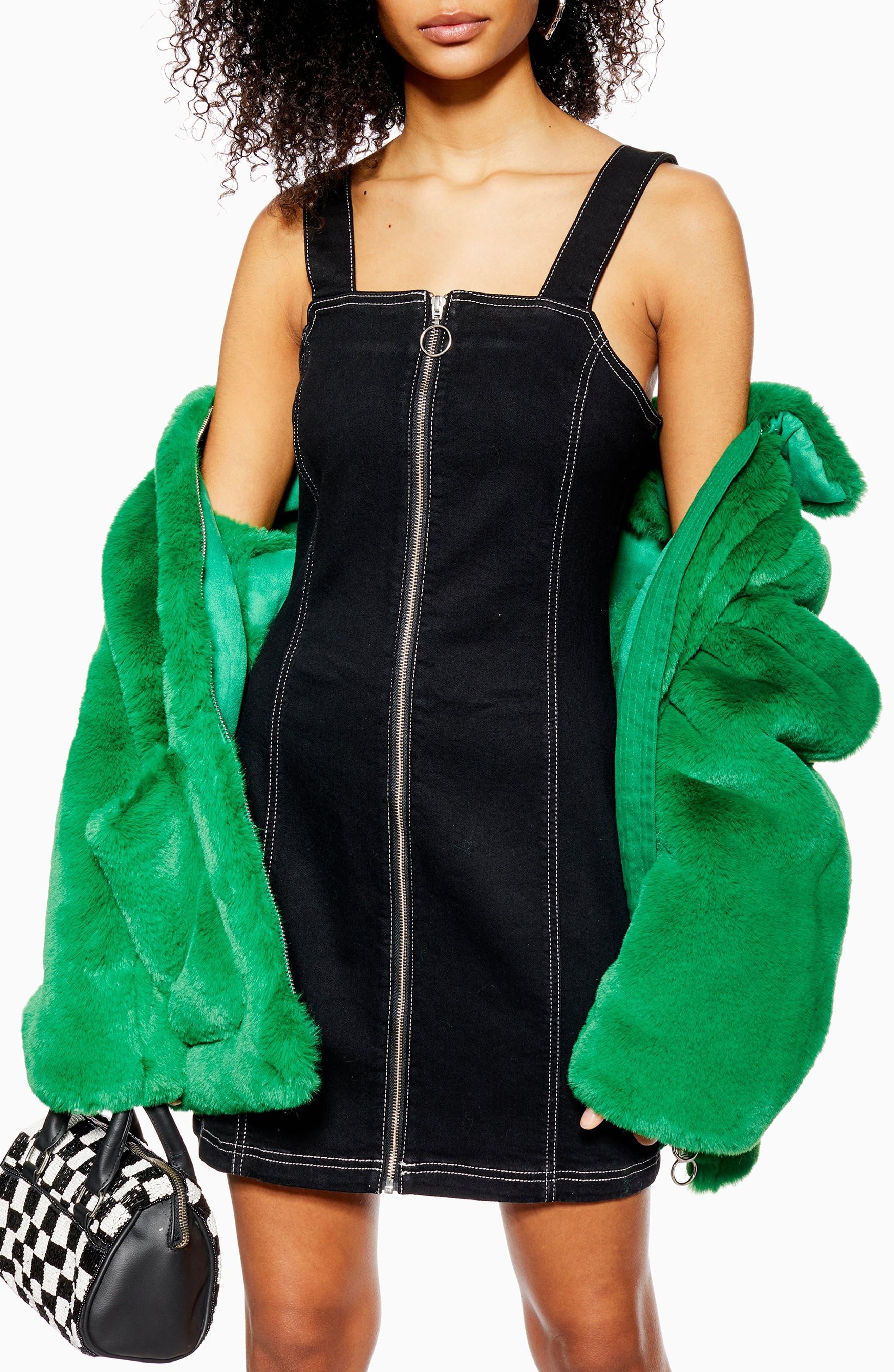 TOPSHOP,                             Stretch Denim Zip Dress,                             Alternate thumbnail 3, color,                             WASHED BLACK