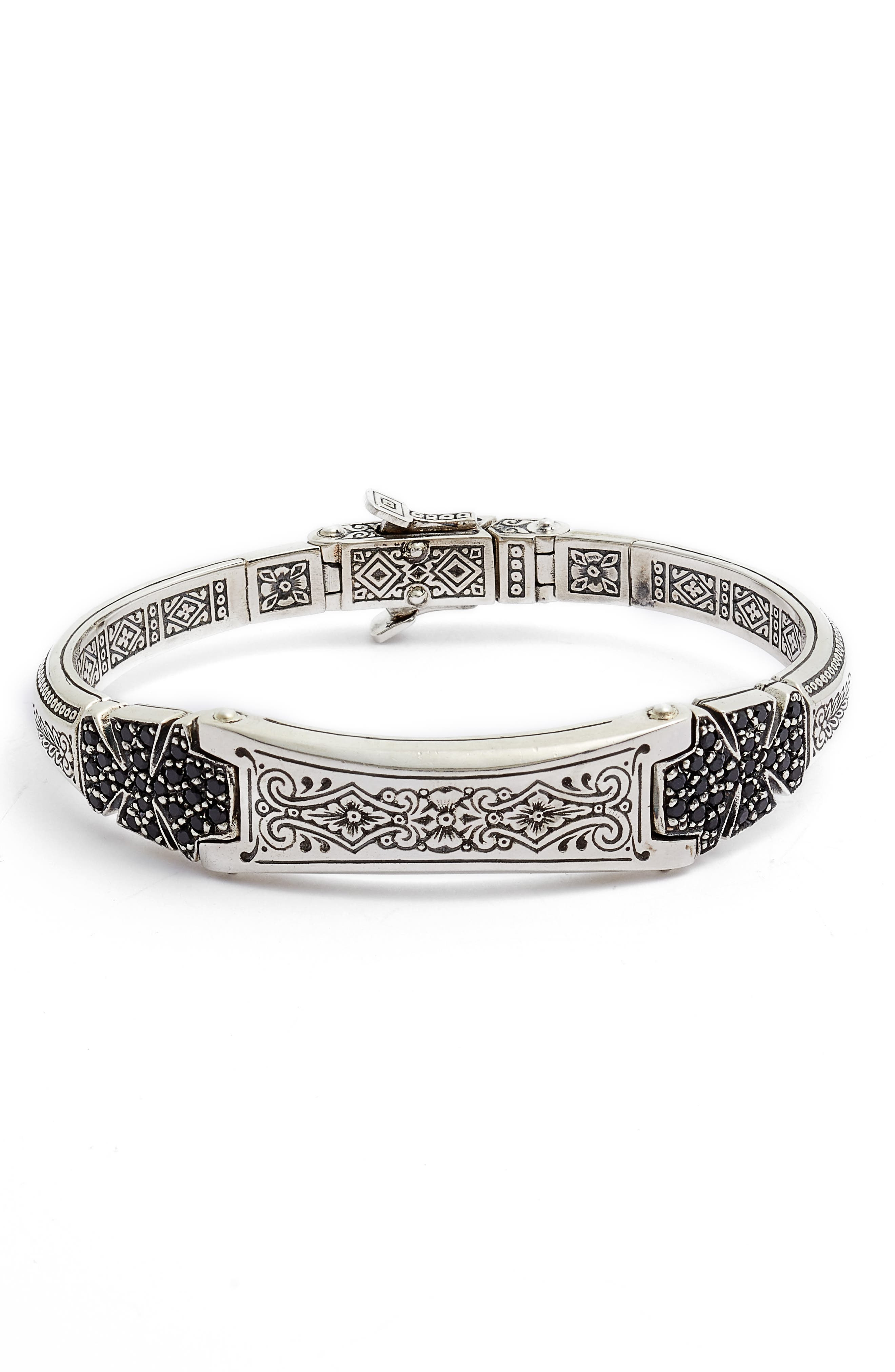 Double Stavros Spinel Cross Cuff Bracelet,                             Main thumbnail 1, color,                             SILVER