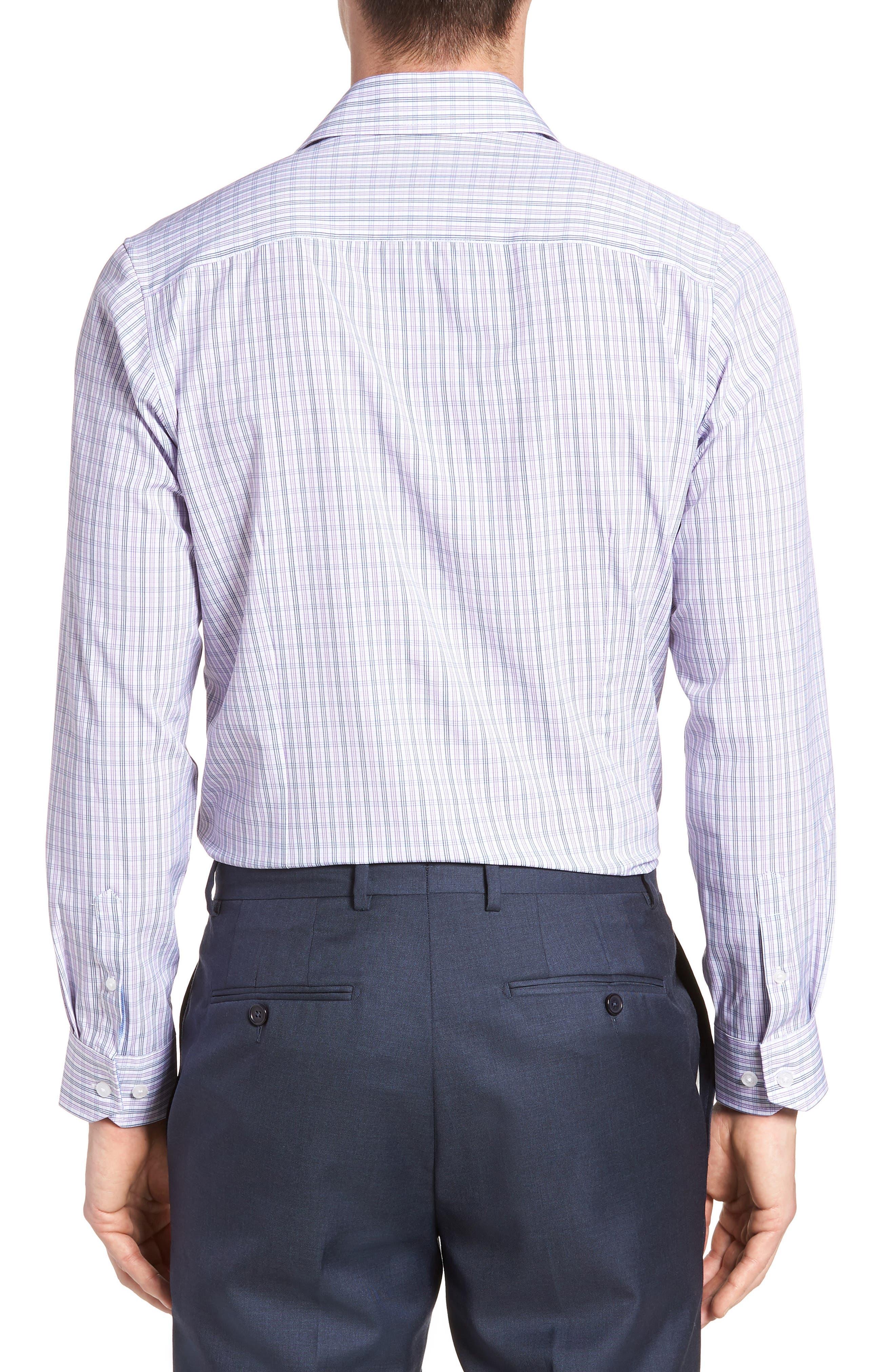 Trim Fit Check 4-Way Stretch Dress Shirt,                             Alternate thumbnail 3, color,                             PURPLE
