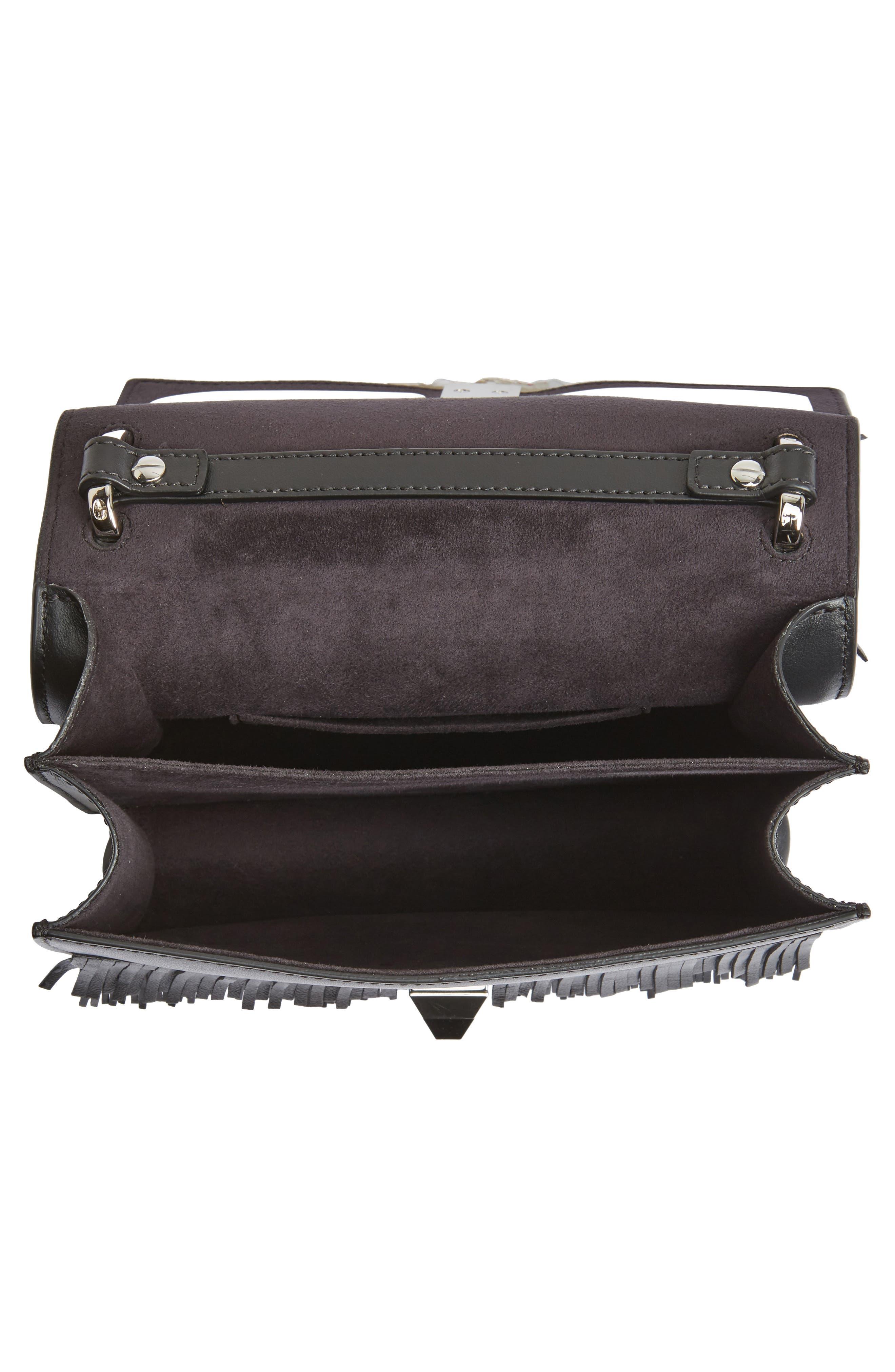 Small Kan I Fringe Monster Calfskin Shoulder Bag,                             Alternate thumbnail 4, color,                             BLACK PALLADIUM