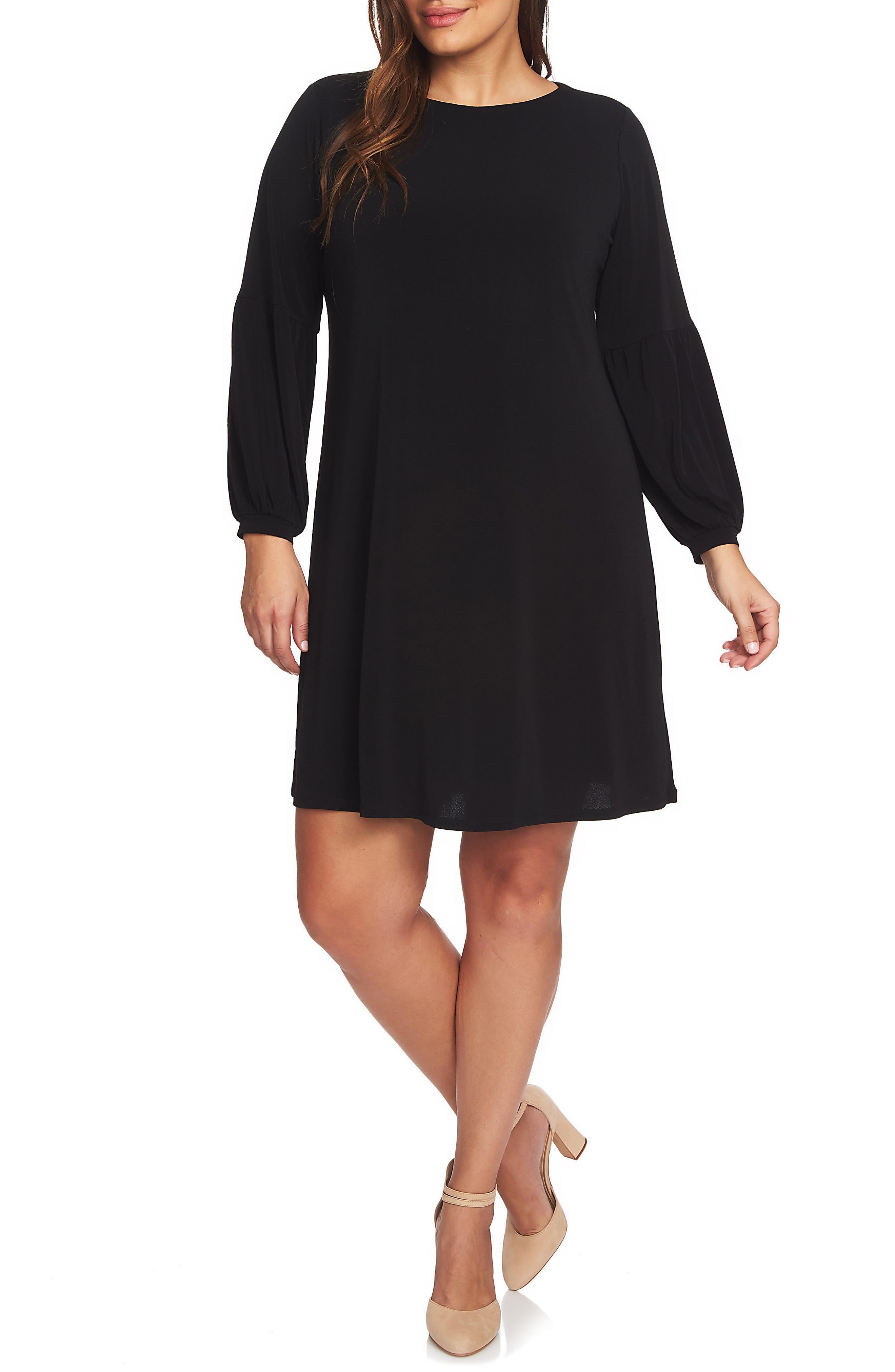 Puff Sleeve Knit Dress,                         Main,                         color, RICH BLACK