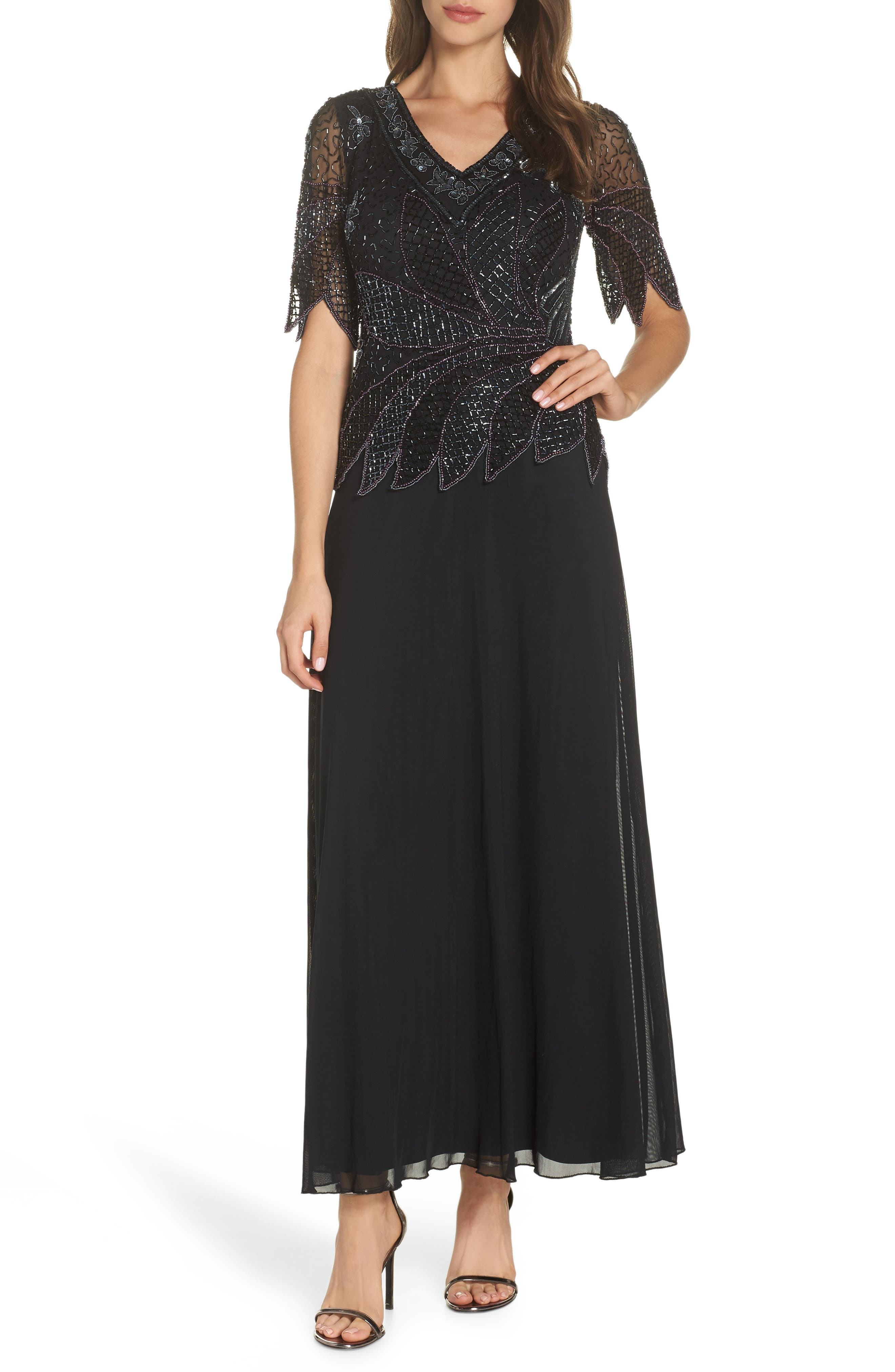 Beaded Mock Two-Piece Gown,                             Main thumbnail 1, color,                             BLACK