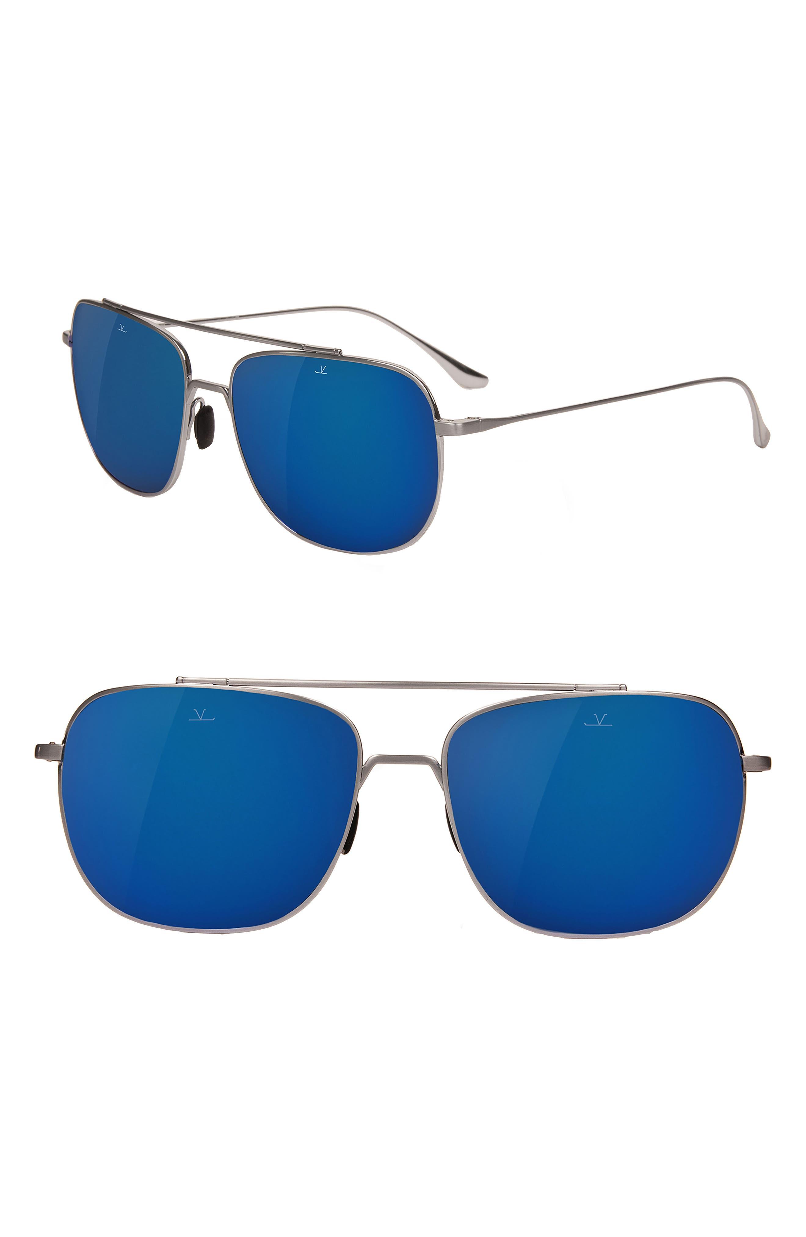 Swing 58mm Navigator Sunglasses,                             Main thumbnail 1, color,                             PURE GREY BLUE FLASH