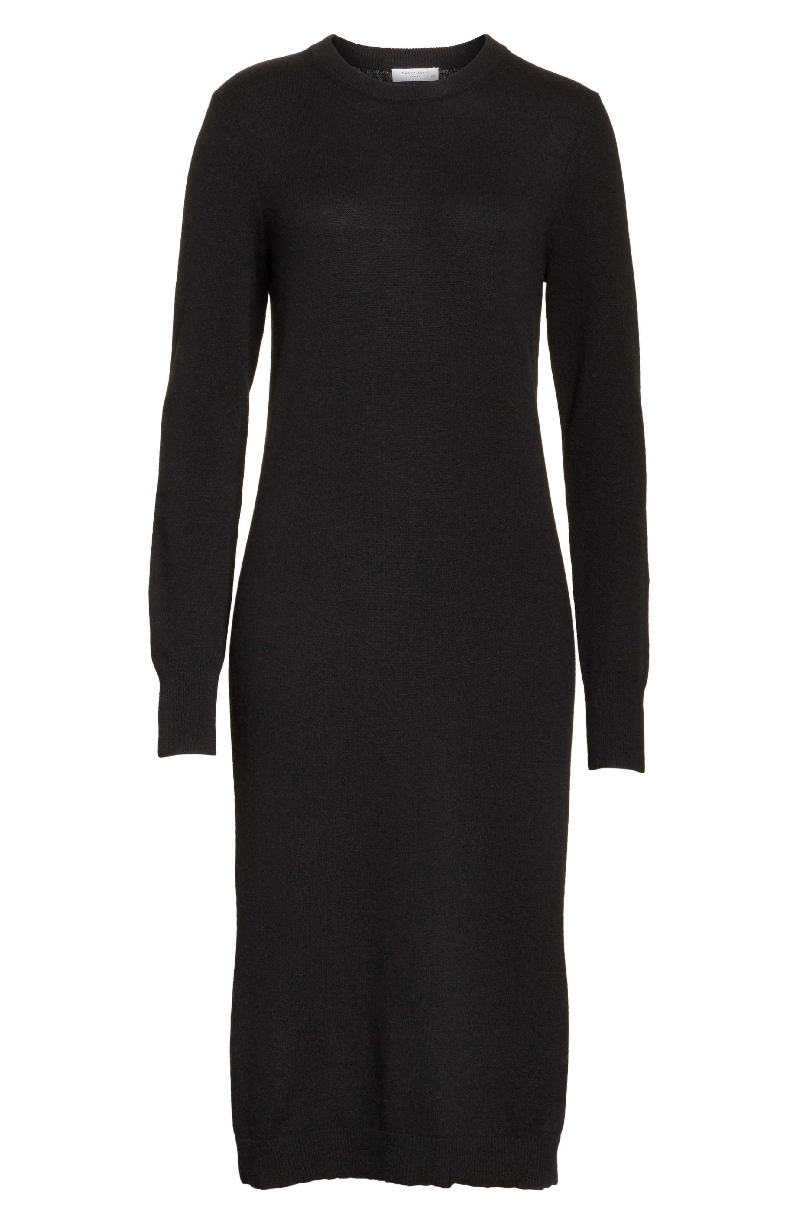 Snyder Cashmere Knit Midi Dress,                             Alternate thumbnail 6, color,                             001