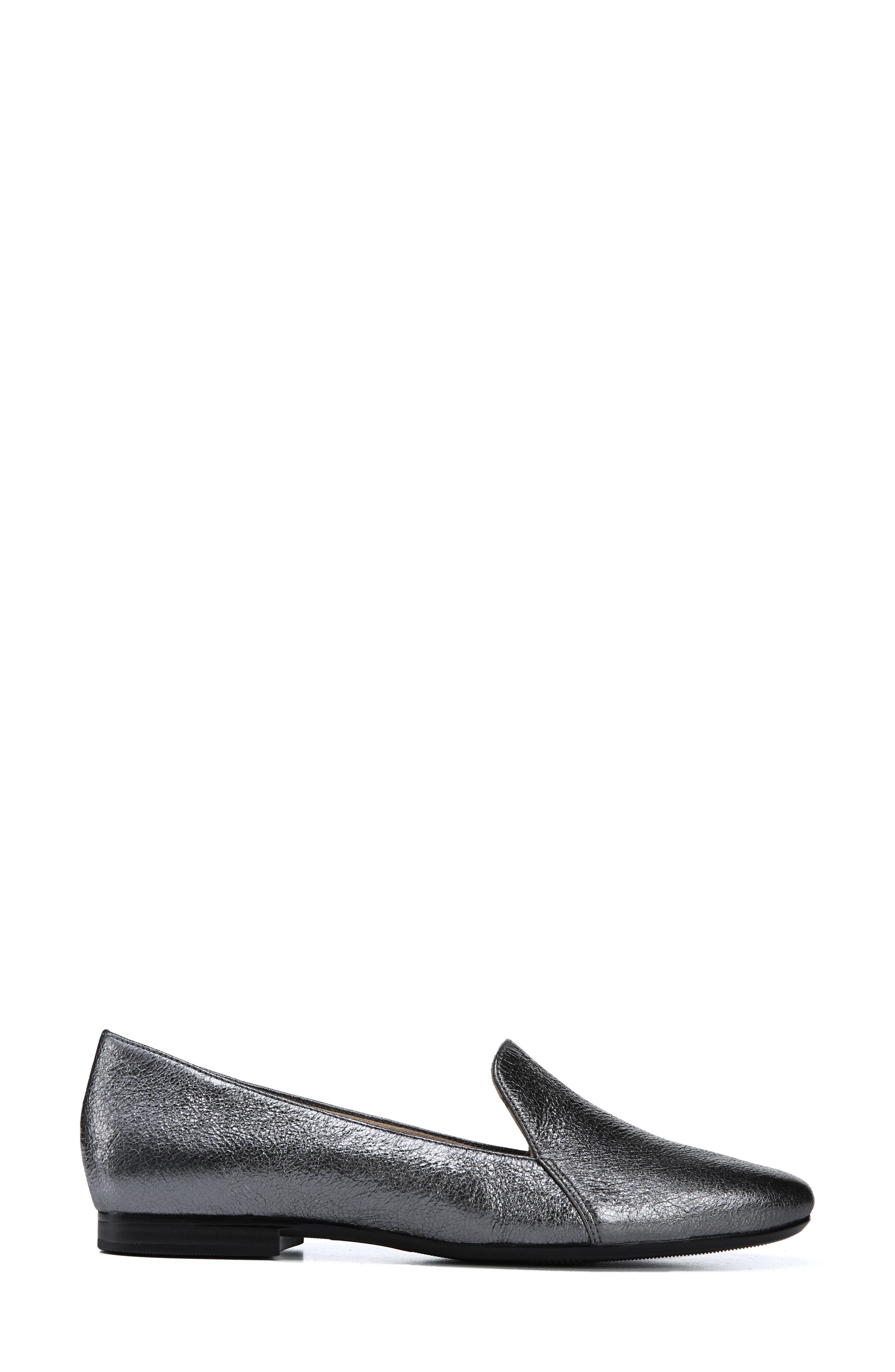 Emiline Flat Loafer,                             Alternate thumbnail 3, color,                             PEWTER LEATHER