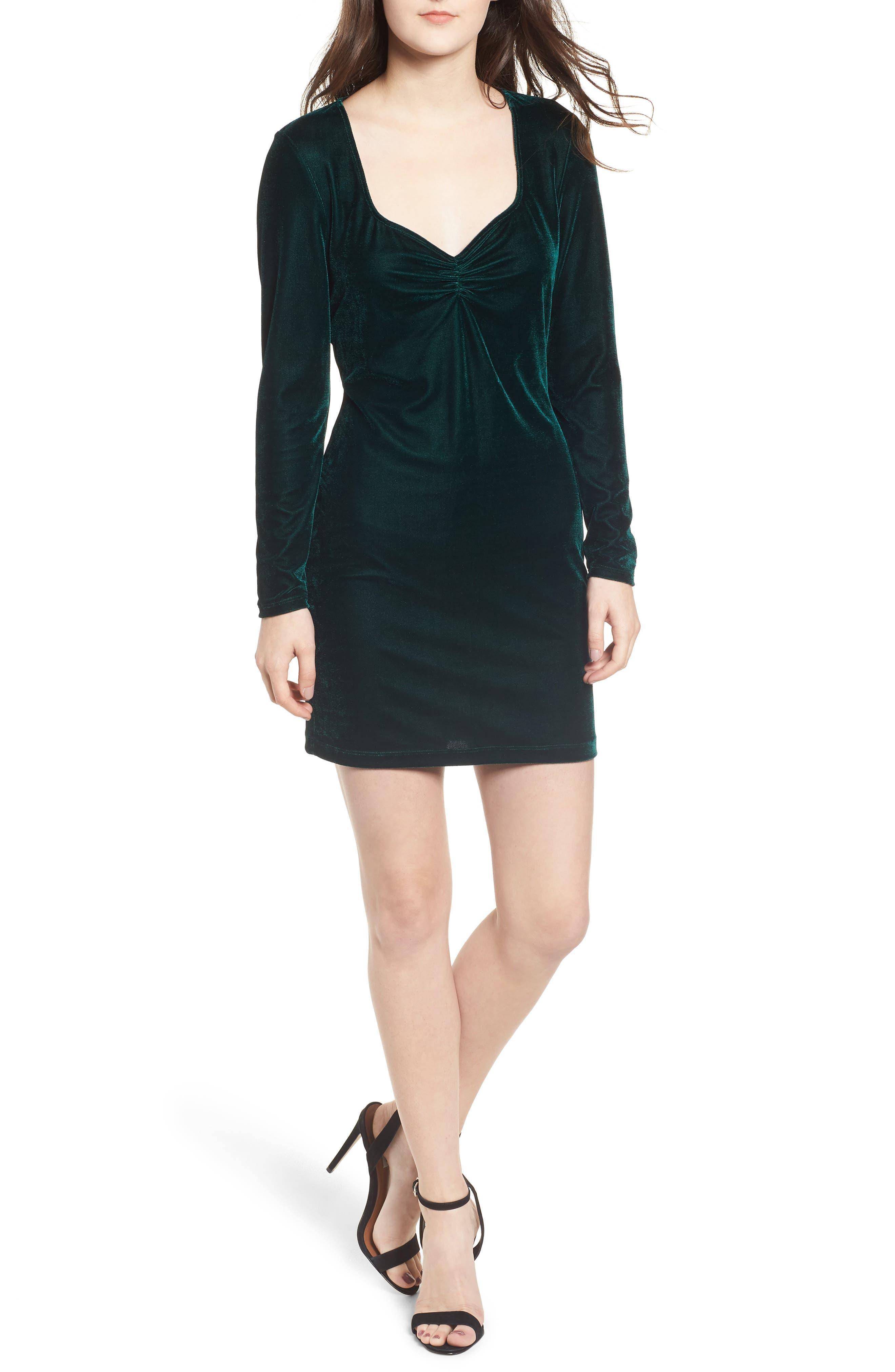 Obey Norwood Velvet Dress, Green