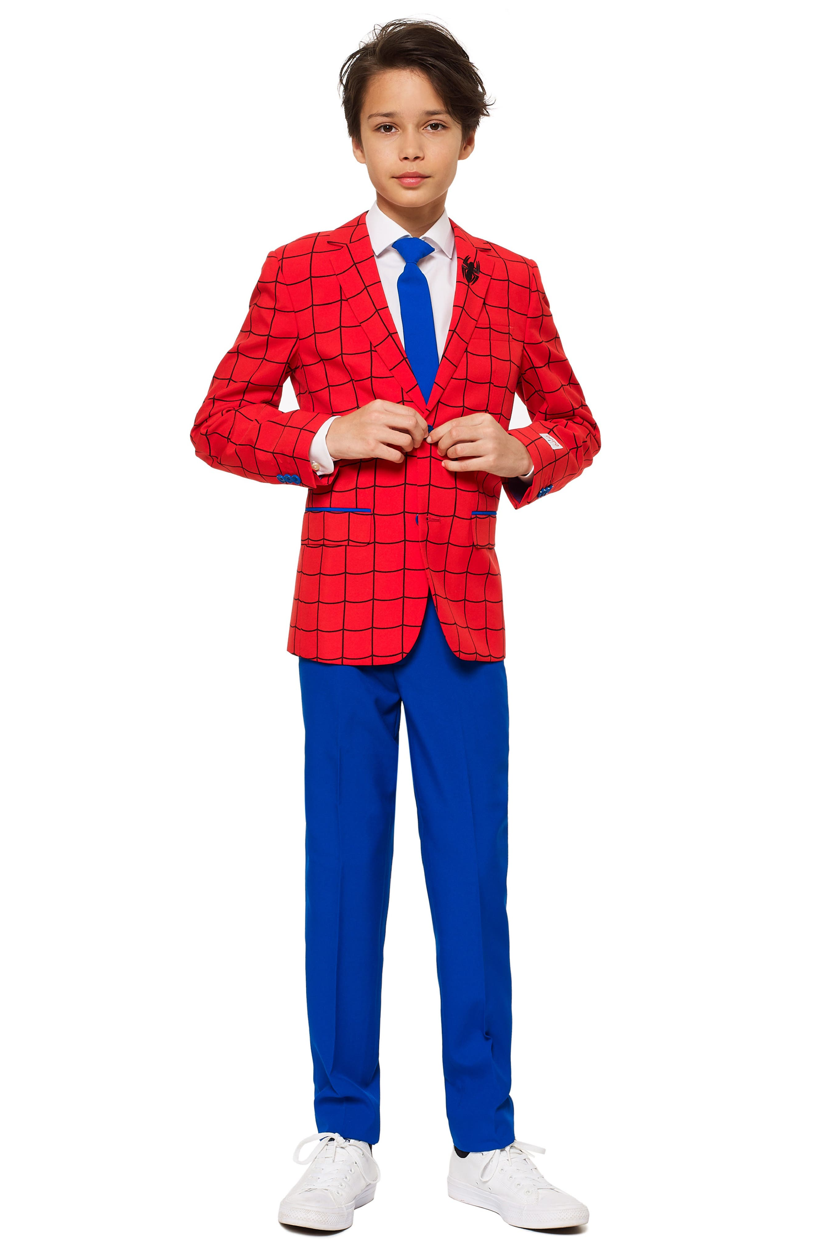 Spider-Man<sup>™</sup> Two-Piece Suit with Tie,                             Main thumbnail 1, color,                             RED