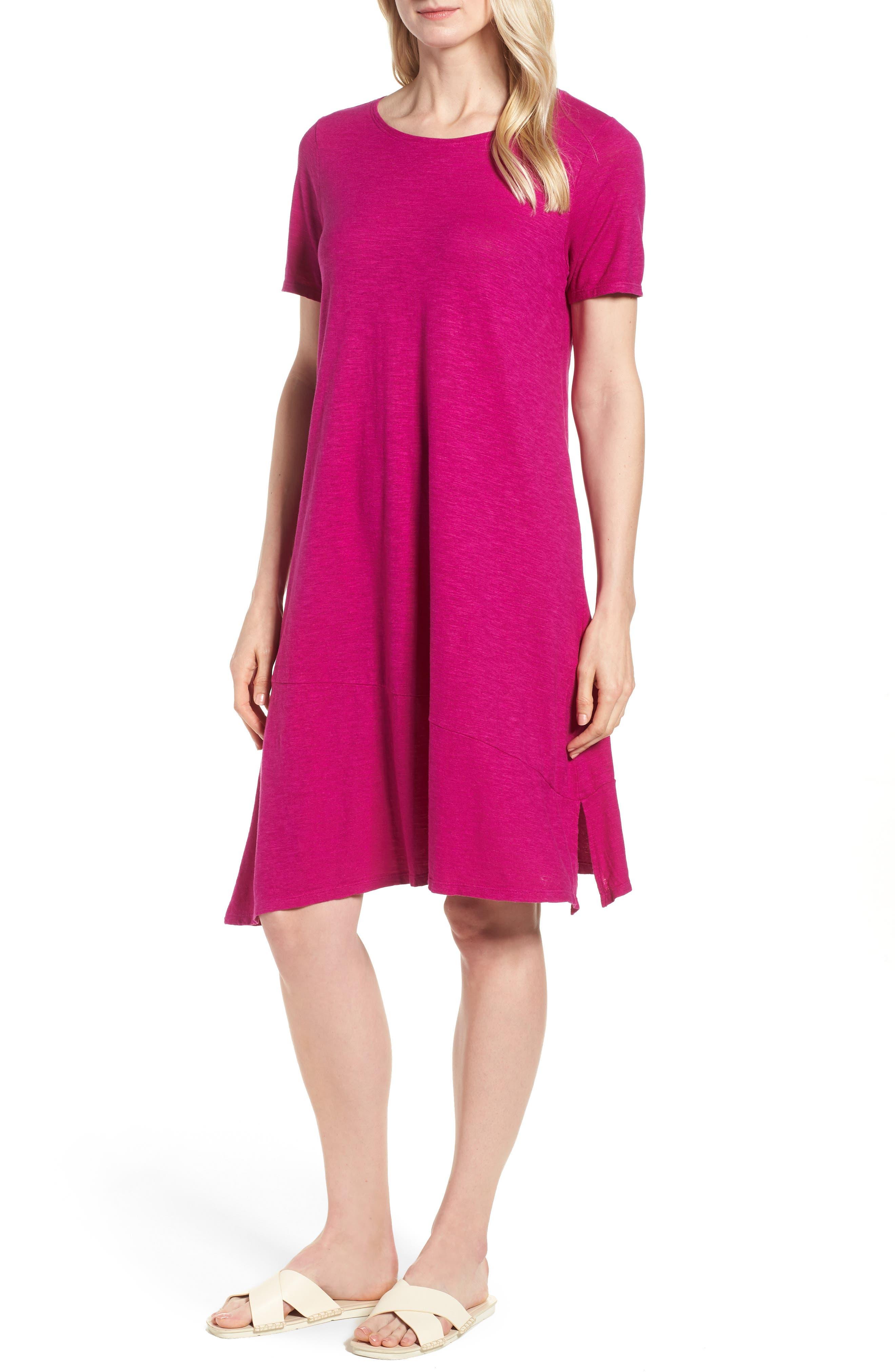 Asymmetrical Hemp Blend Shift Dress,                             Main thumbnail 3, color,