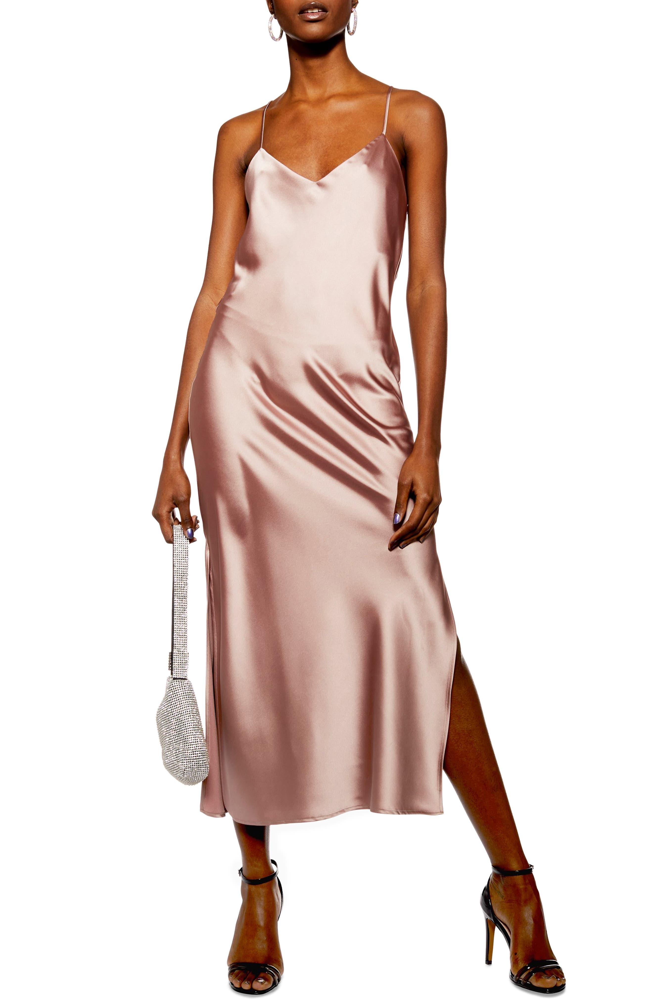 Topshop Plain Satin Slipdress, US (fits like 6-8) - Pink