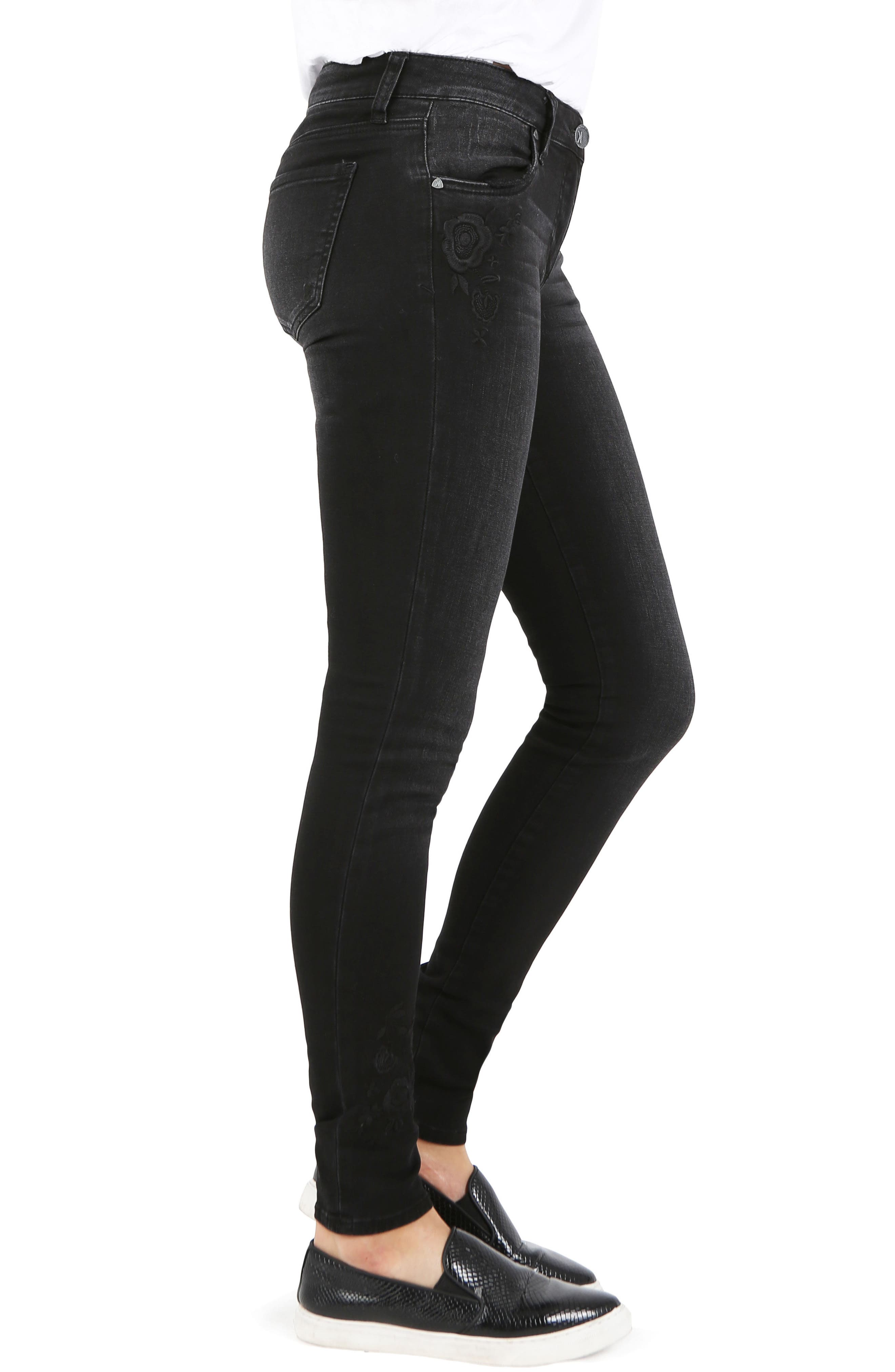 Mia Embroidered Skinny Jeans,                             Alternate thumbnail 3, color,                             030