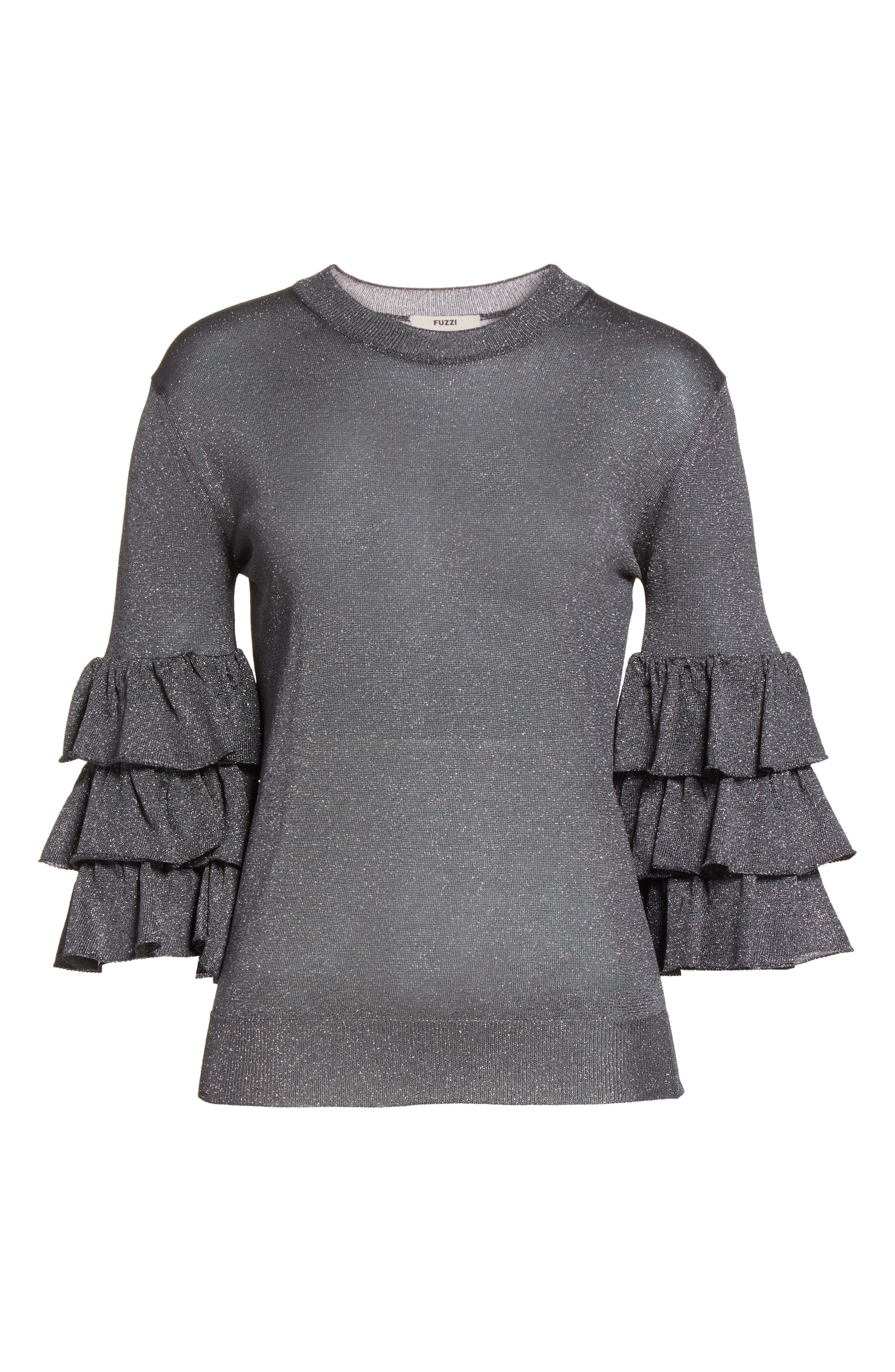 Tiered Ruffle Sleeve Metallic Top,                             Alternate thumbnail 6, color,                             020