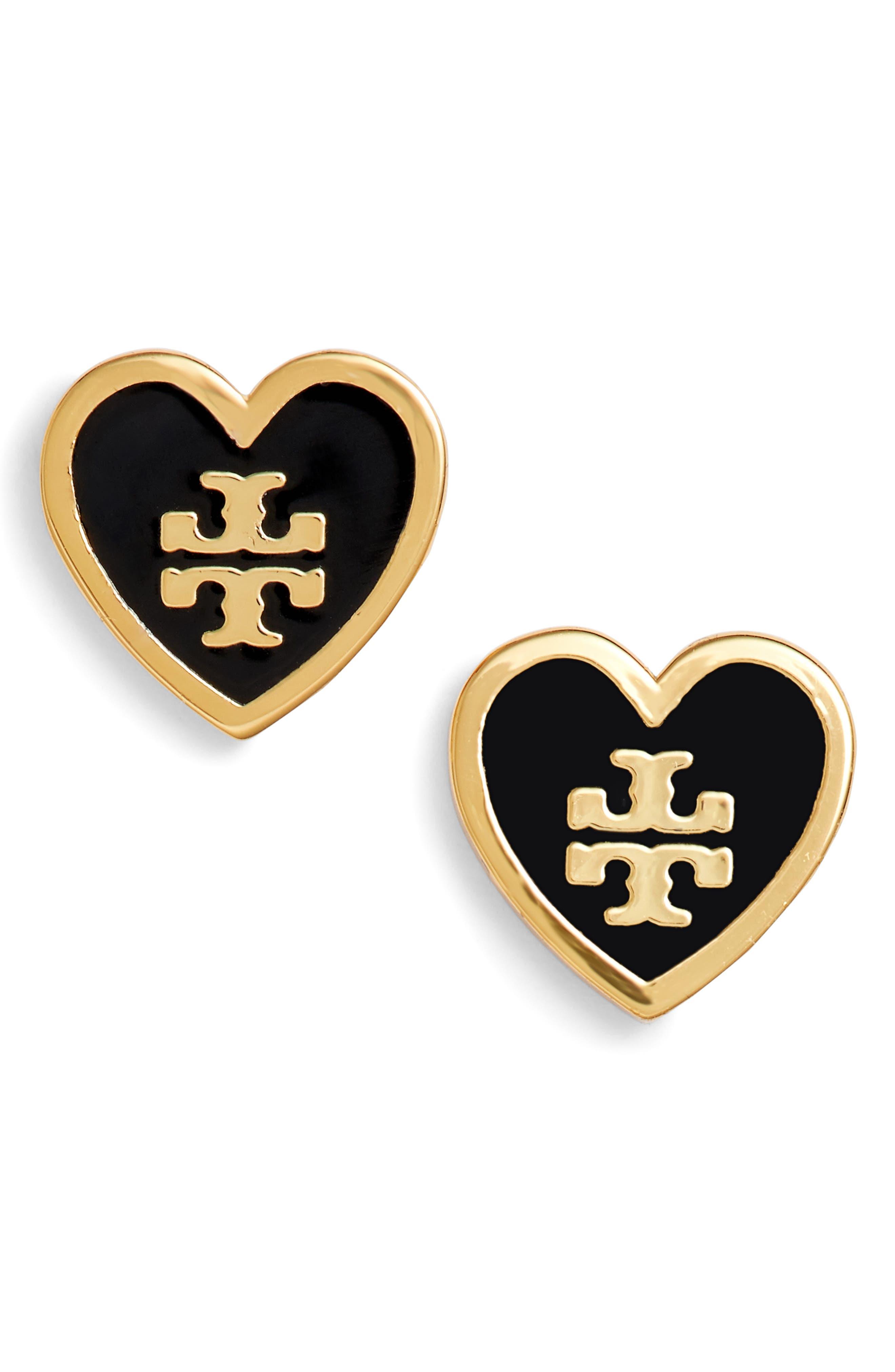 Logo Heart Stud Earrings,                             Main thumbnail 1, color,                             001