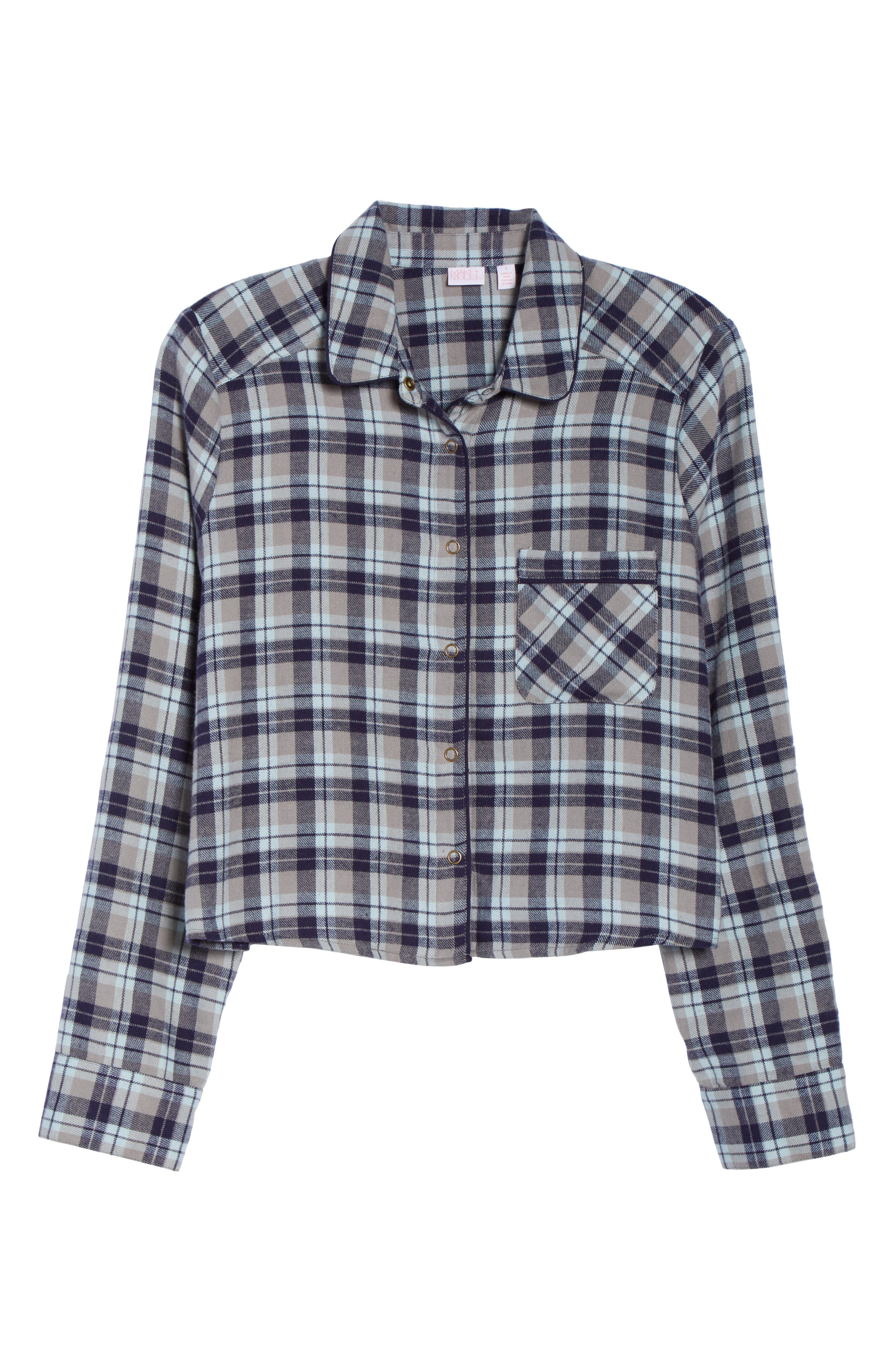Crop Flannel Pajama Top,                             Alternate thumbnail 6, color,                             GREY FROST LUCY PLAID