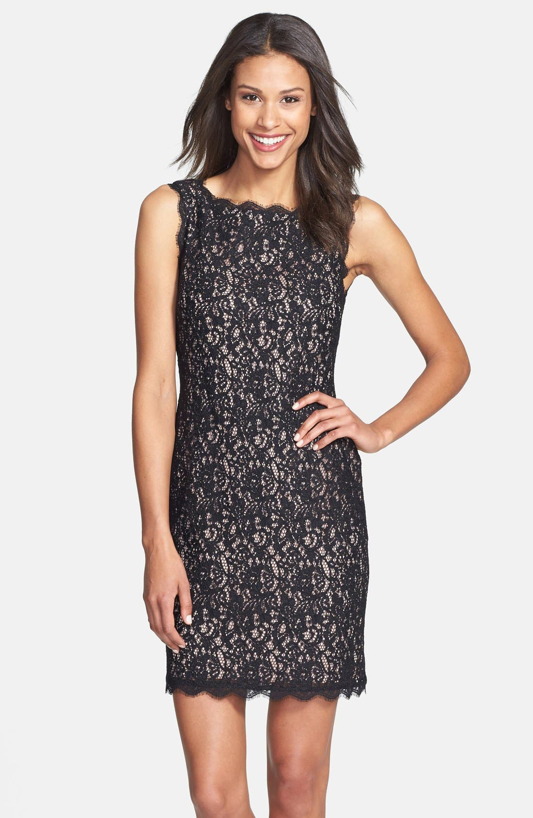 Boatneck Lace Sheath Dress,                             Main thumbnail 1, color,                             015