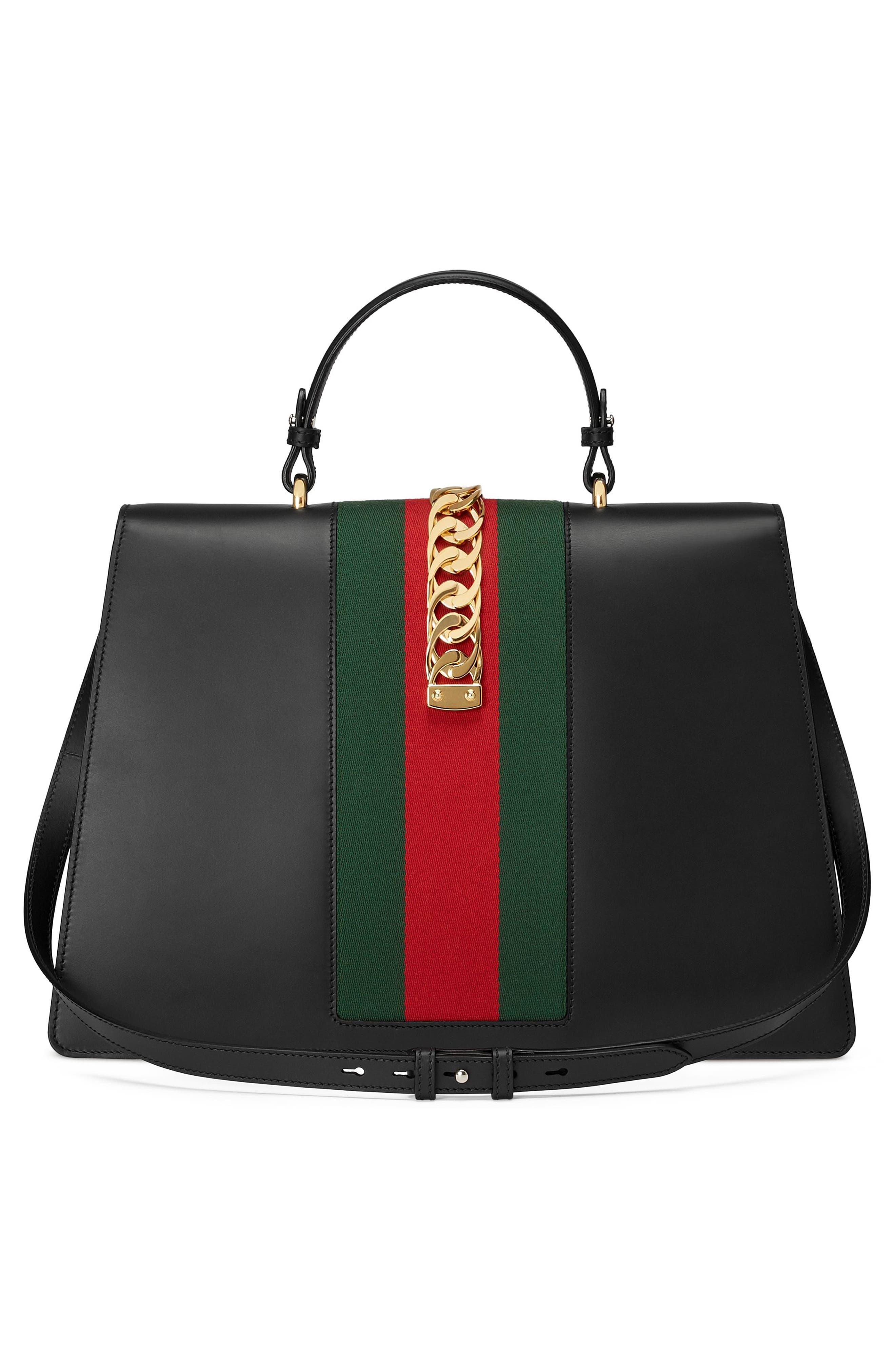 Maxi Sylvie Top Handle Leather Shoulder Bag,                             Alternate thumbnail 3, color,                             NERO/ VERT RED