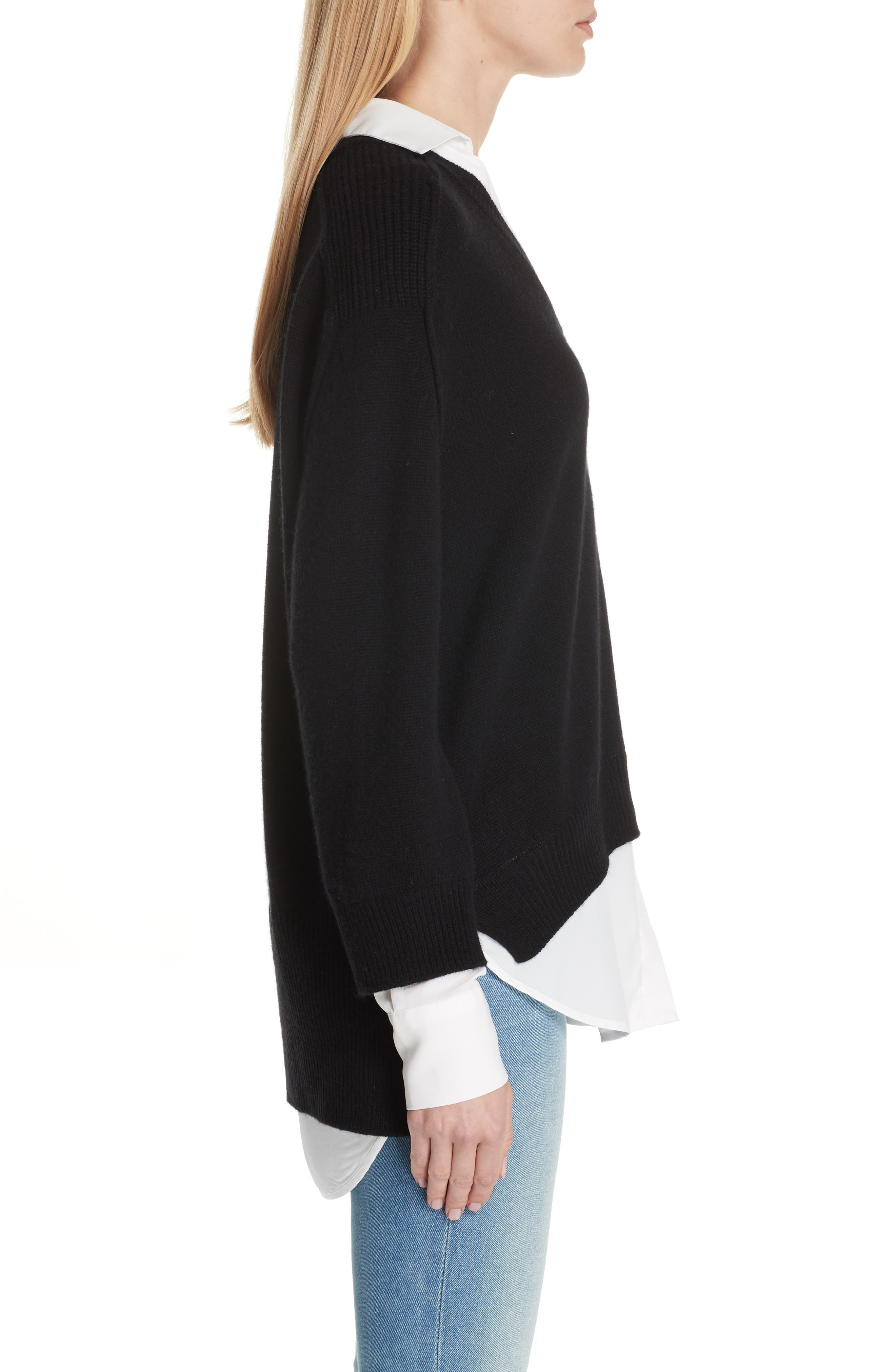 V-Neck Layered Pullover,                             Alternate thumbnail 3, color,                             BLACK ONYX