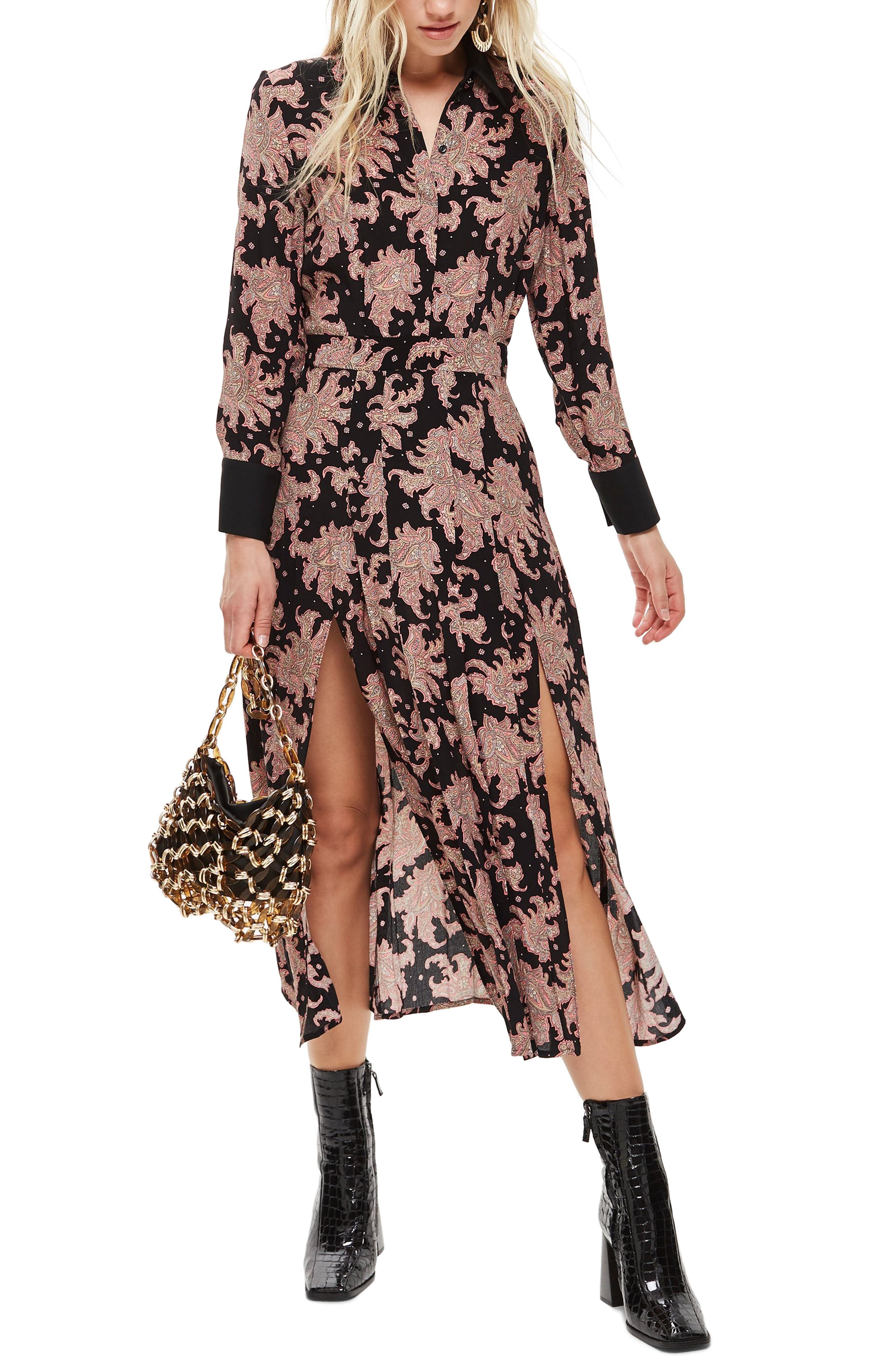 Paisley Midi Shirtdress,                         Main,                         color, BLACK MULTI