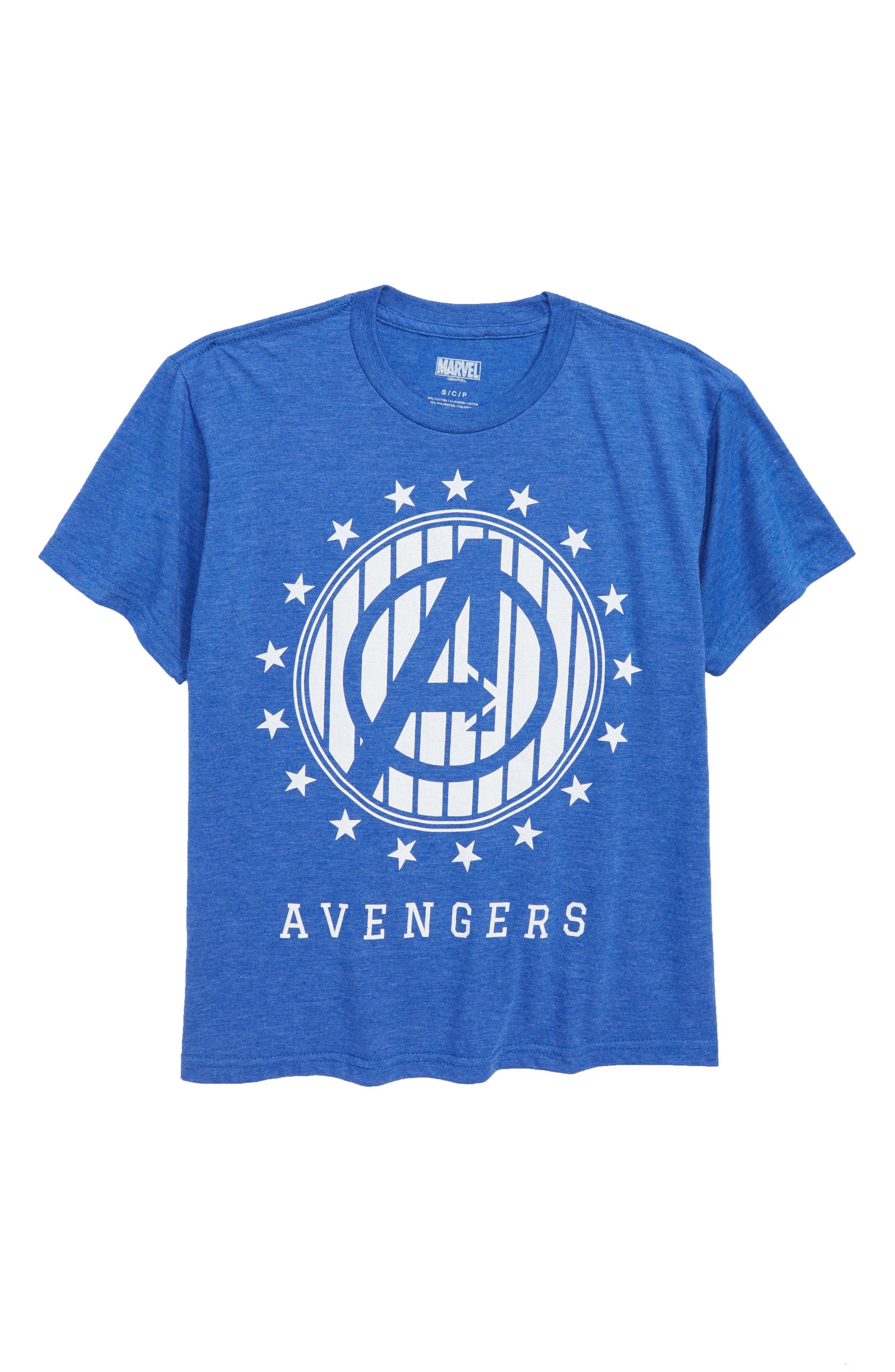 x Marvel Avengers Stripe Logo T-Shirt,                             Main thumbnail 1, color,