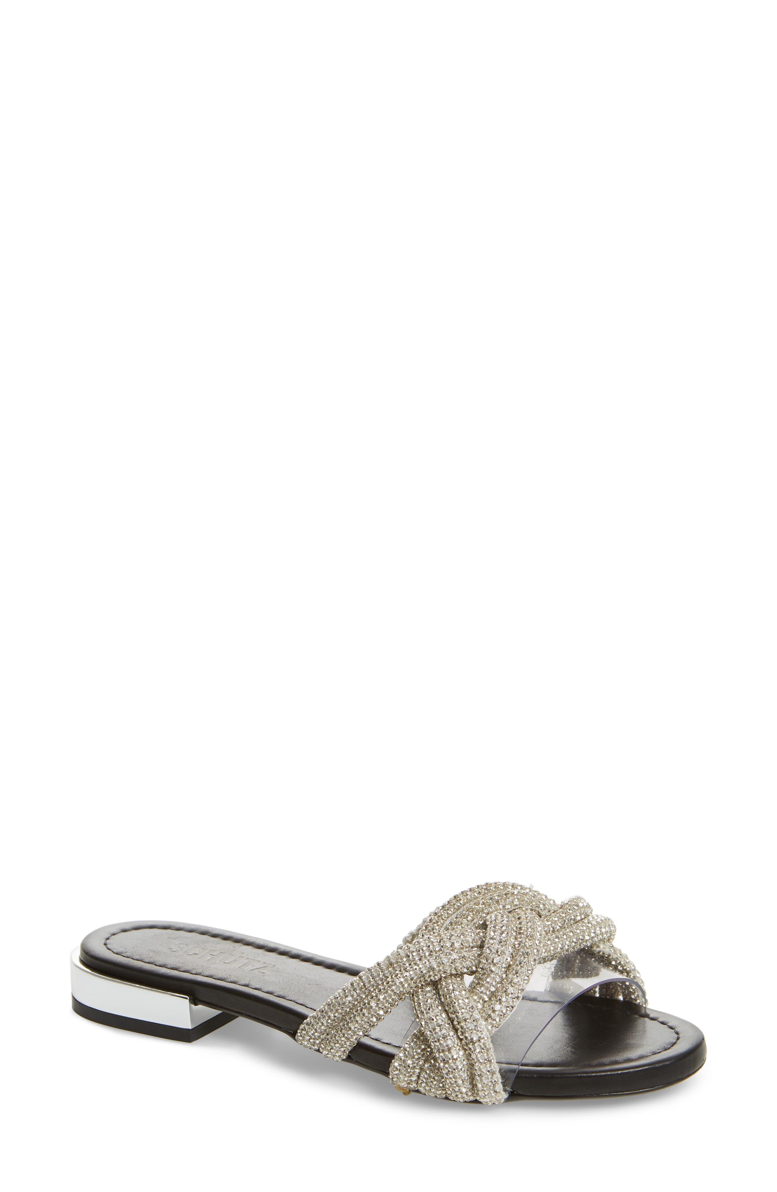 Schutz Lindy Braided Slide Sandal, White