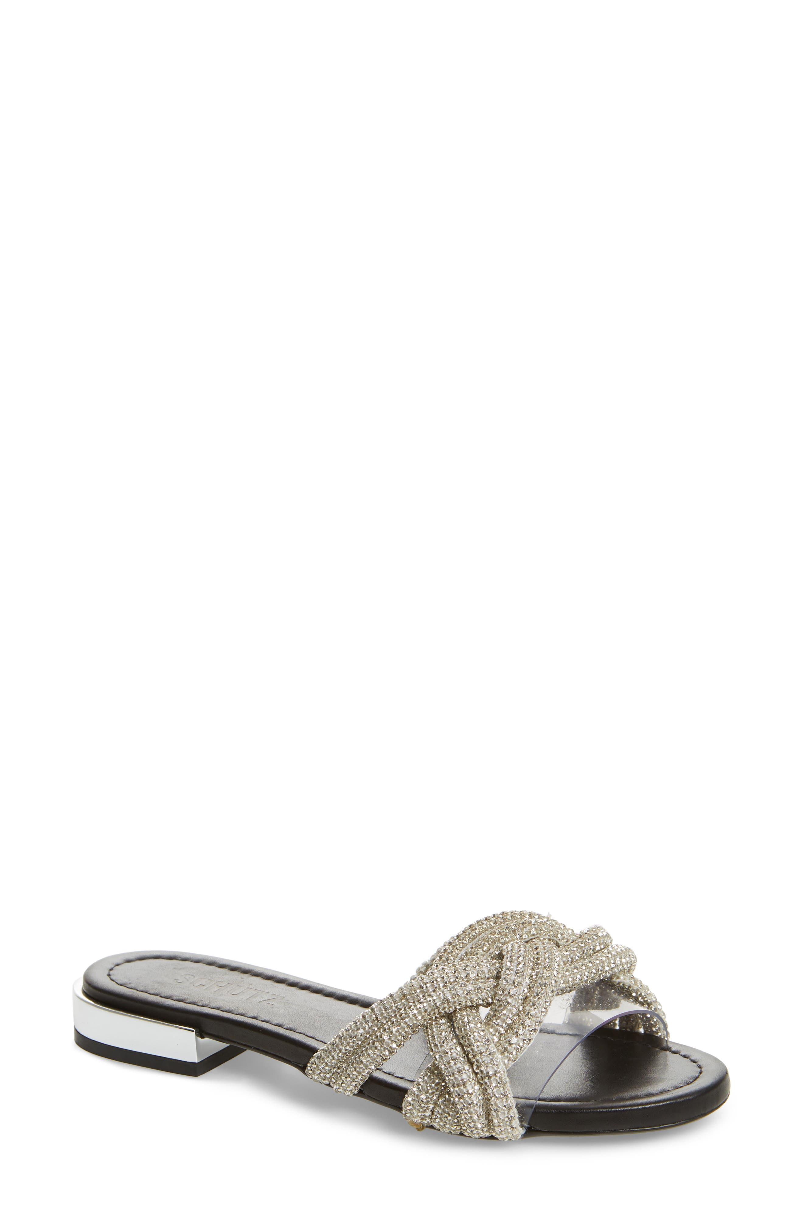 Lindy Braided Slide Sandal,                             Main thumbnail 1, color,                             SILVER METALLIC