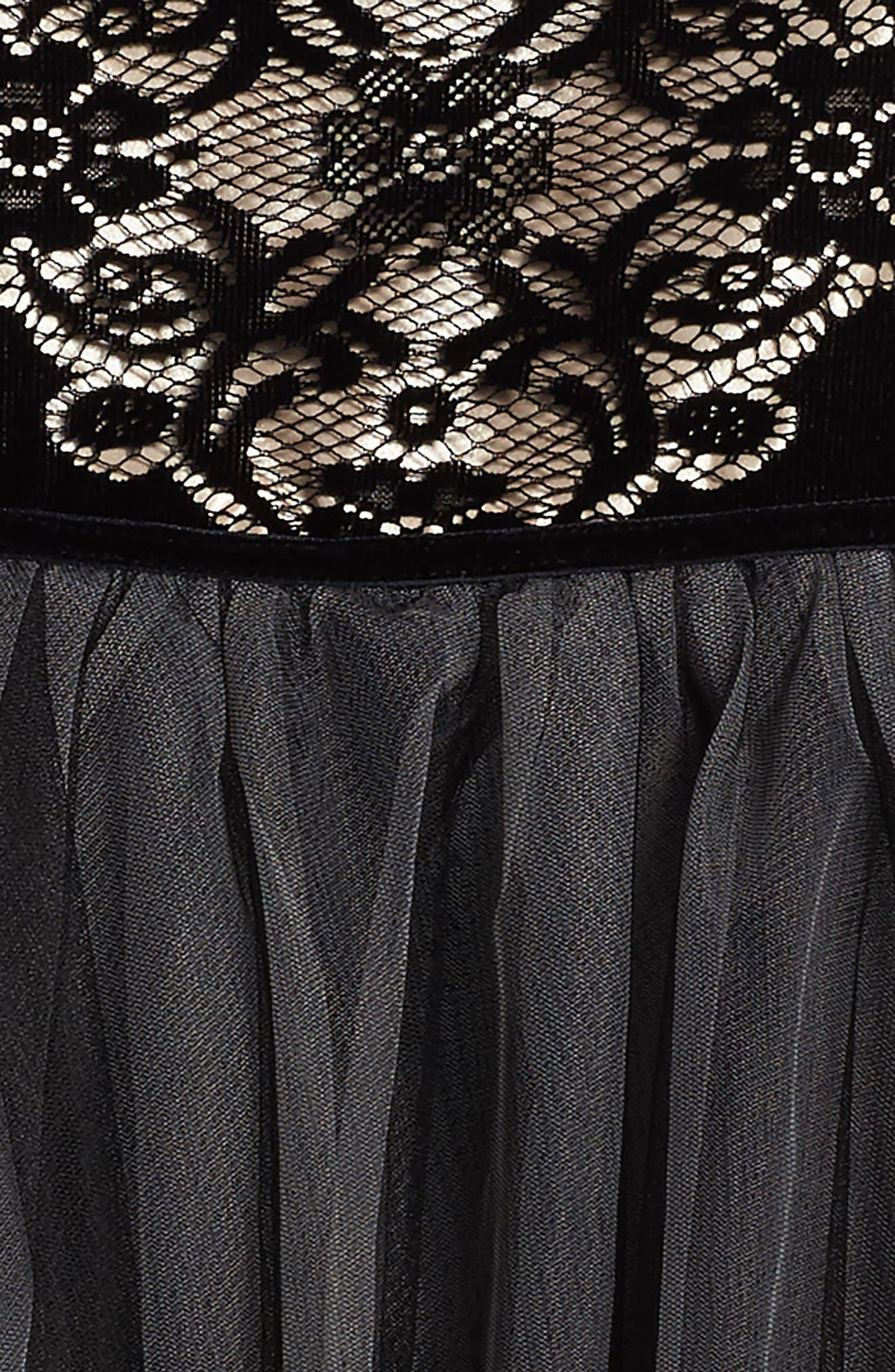 Burnout Lace Velvet & Tulle Dress,                             Alternate thumbnail 3, color,                             001