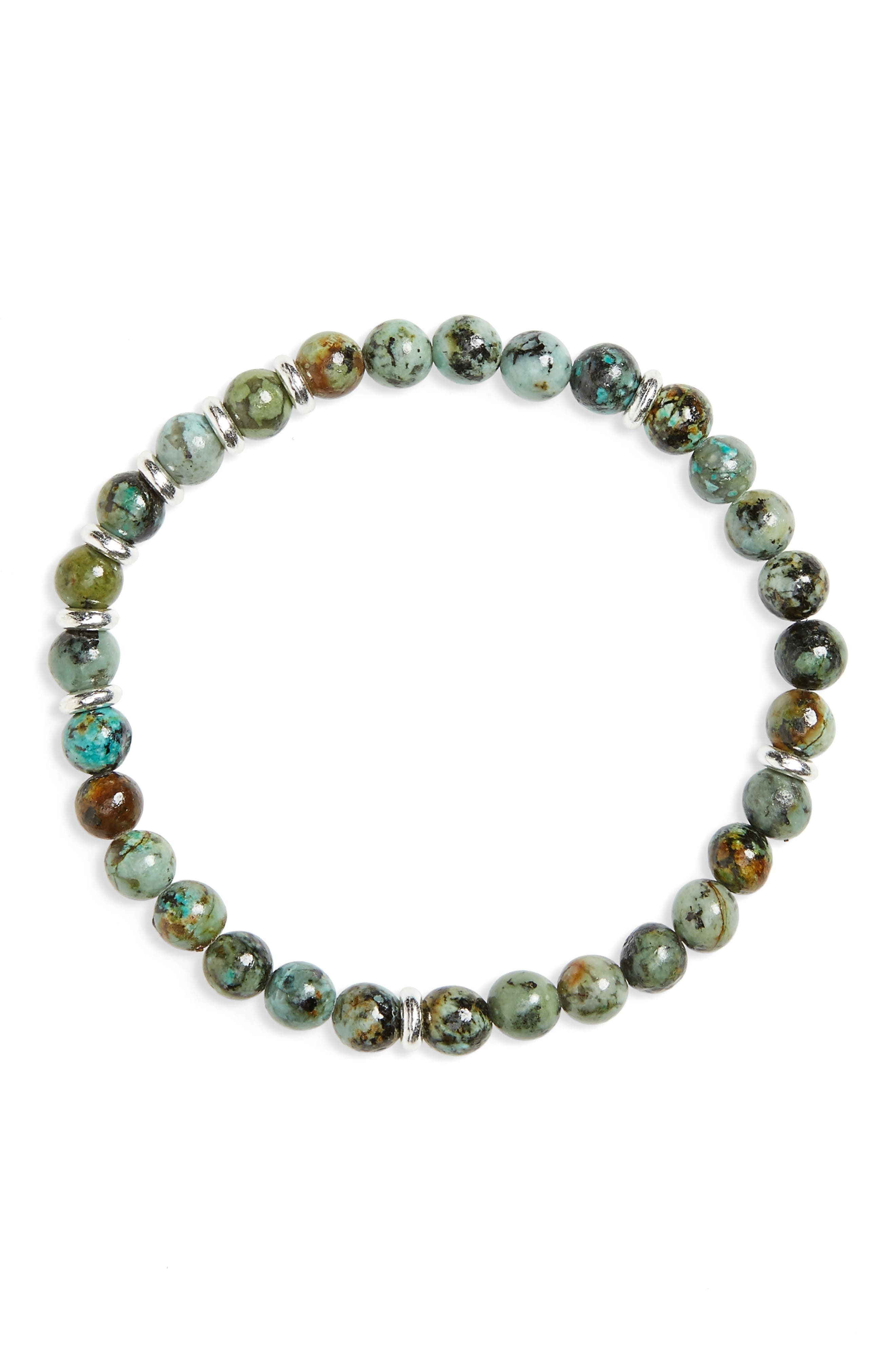 Turquoise Bead Bracelet,                             Main thumbnail 1, color,                             GREEN
