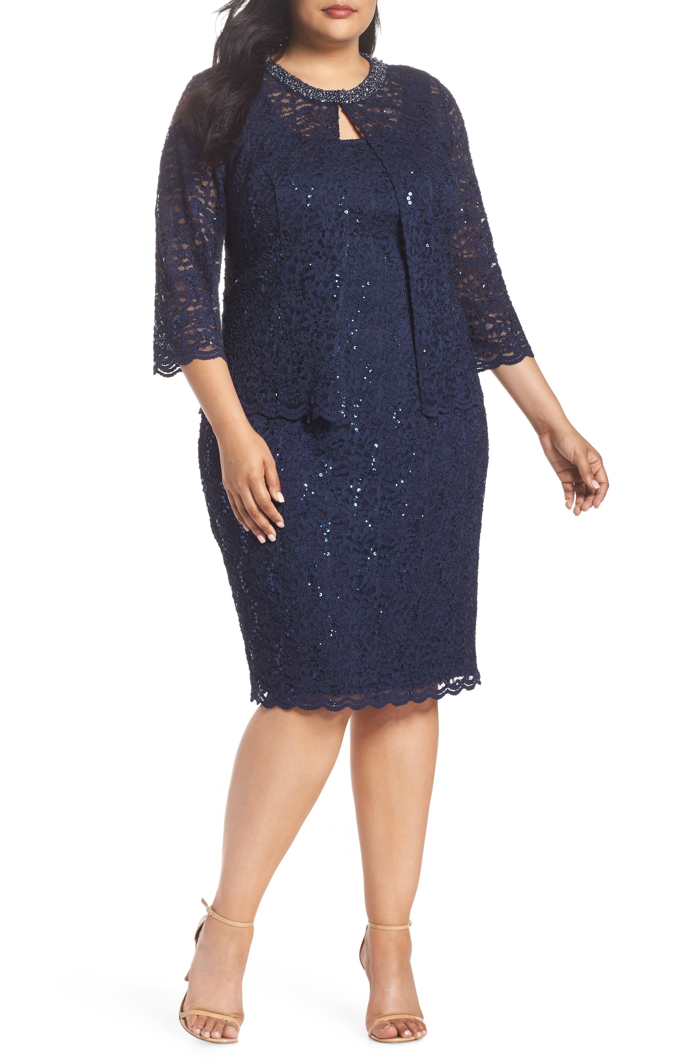 Plus Size Alex Evenings Sequin Shift Dress & Jacket, Blue