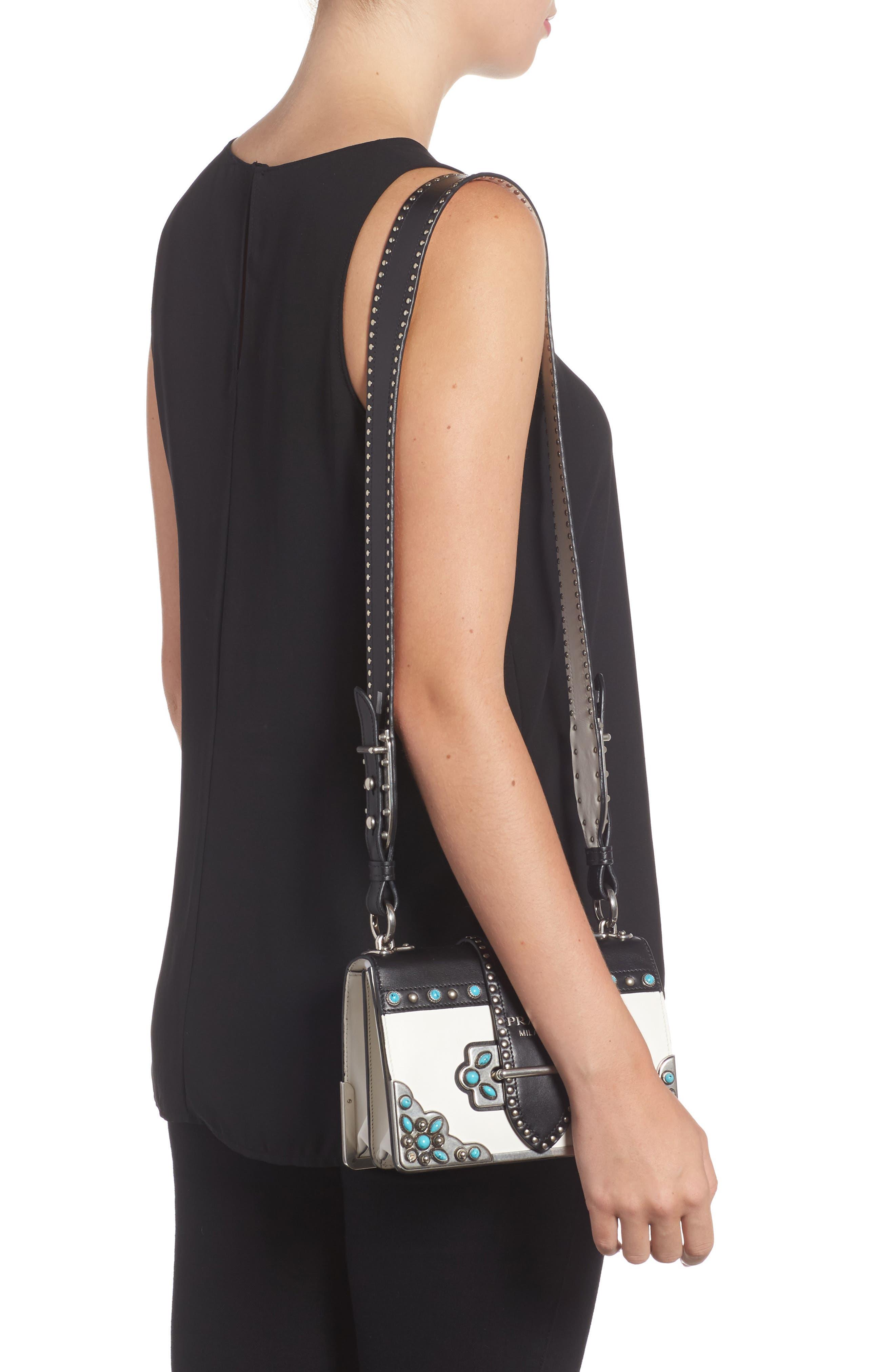 Cahier City Calfskin Shoulder Bag,                             Alternate thumbnail 2, color,                             BIANCO/ NERO