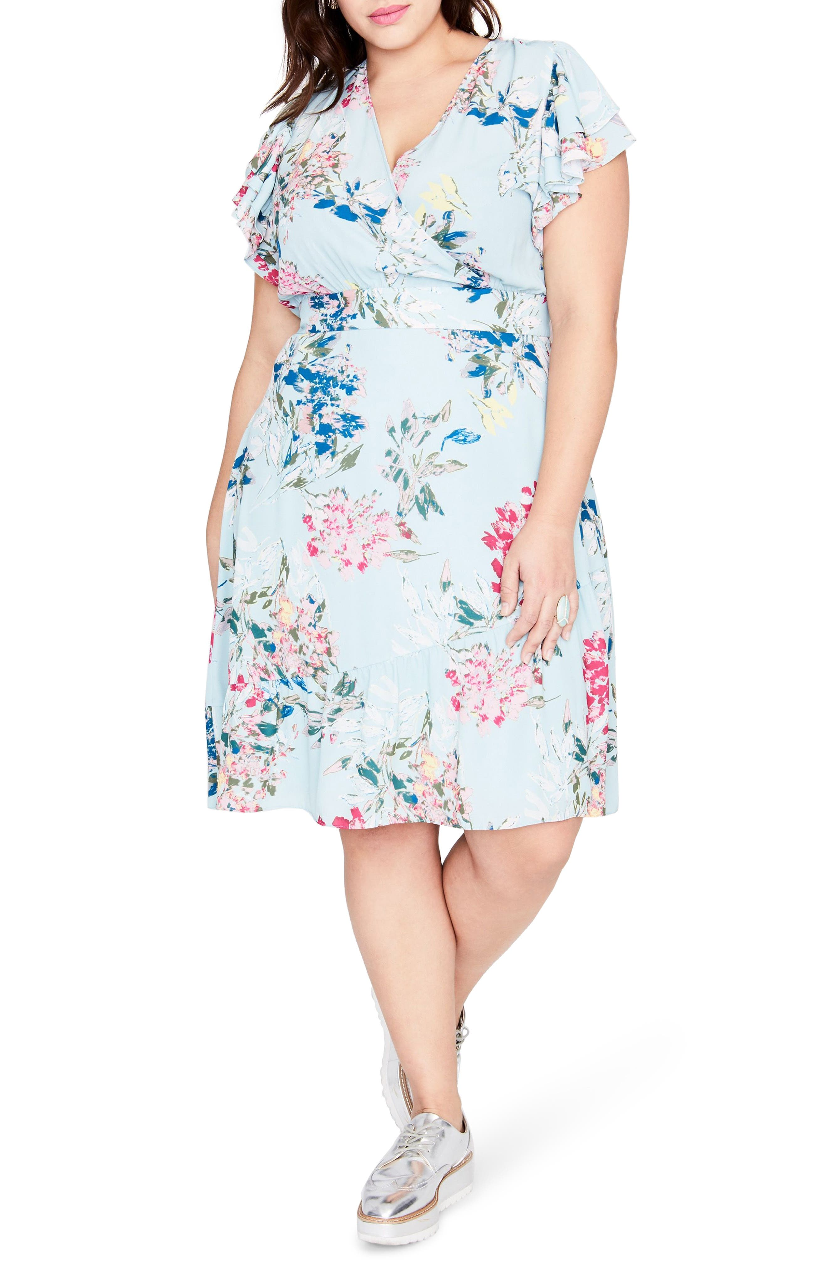 Easy Crossover Dress,                         Main,                         color, MINT LEAF COMBO