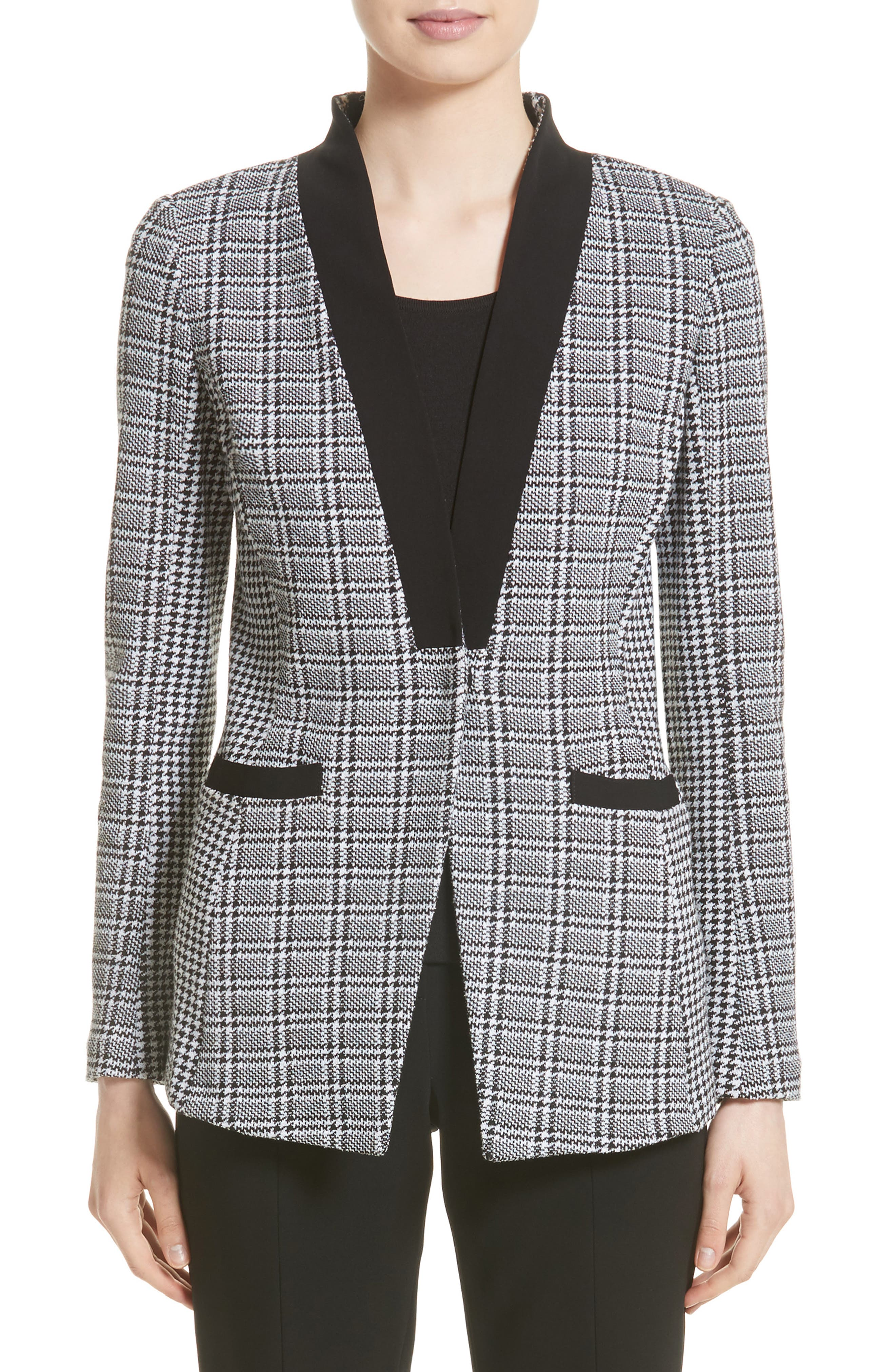Mini Houndstooth Plaid Jacket,                             Main thumbnail 1, color,                             020